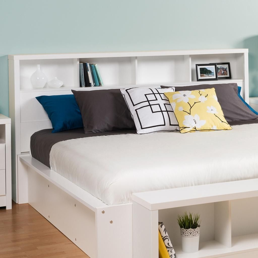 King Size Bookcase Headboard With Storage Shelves In White In 2019