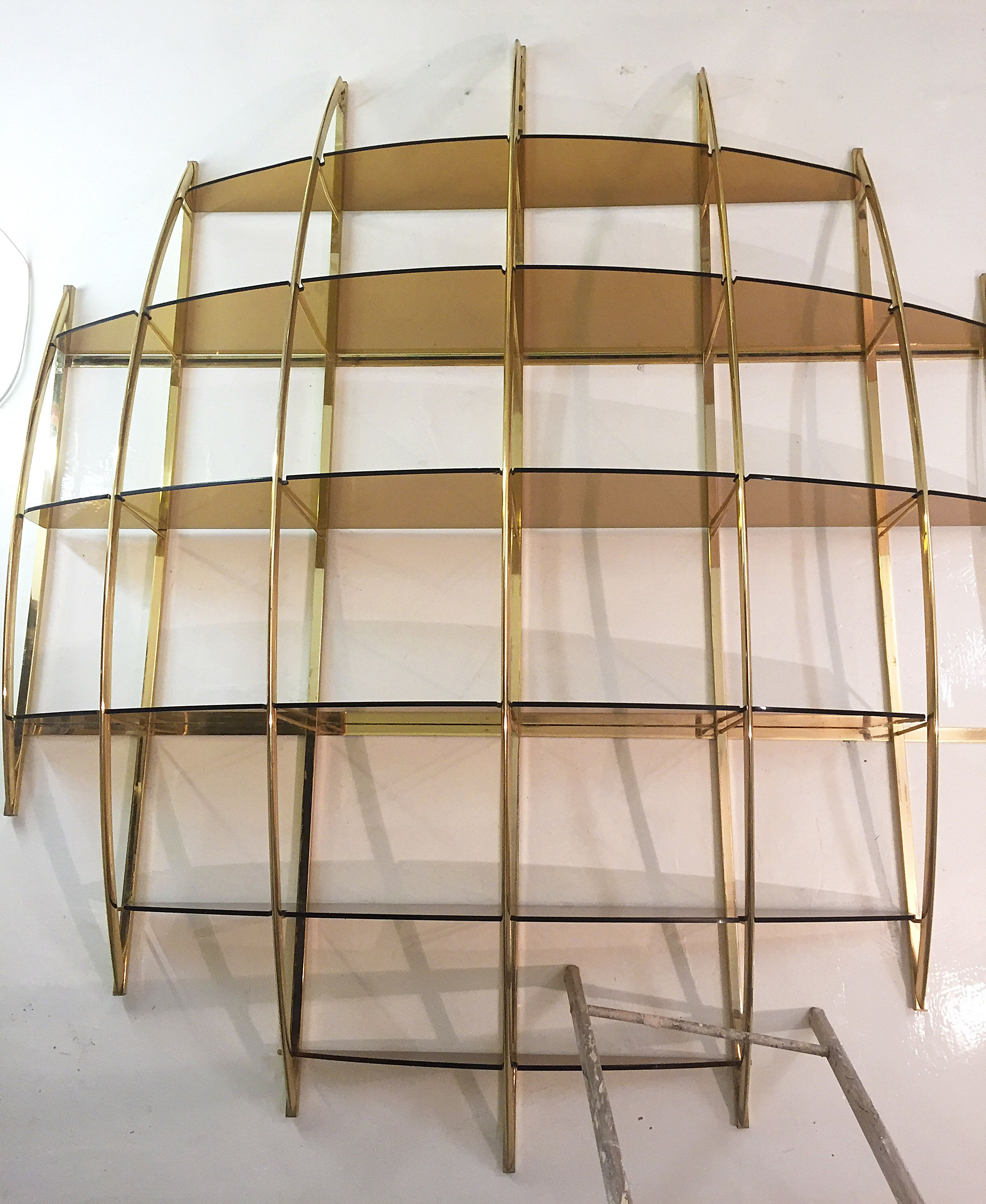 Vintage Wall Unit Shelves In Brass By Manfredo Massironi For Nikol  International 1970