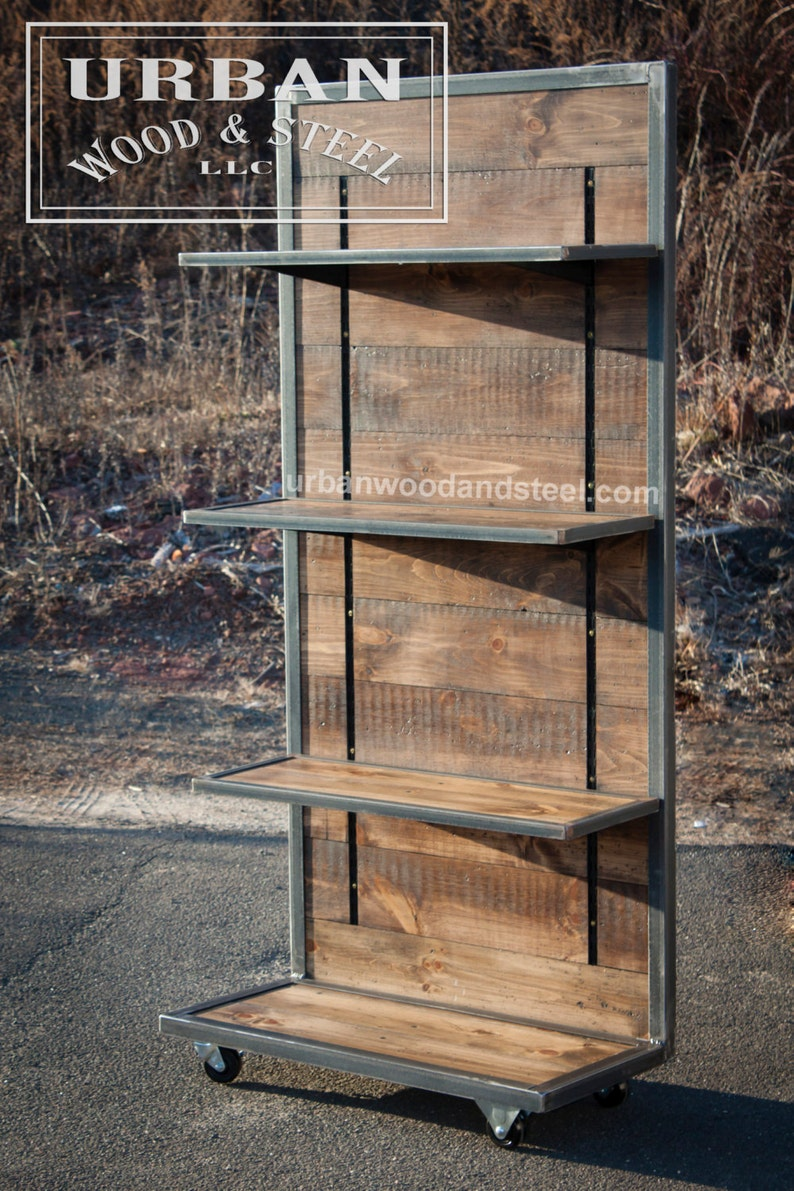 Industrial Reclaimed Pine Display With Adjustable Shelves
