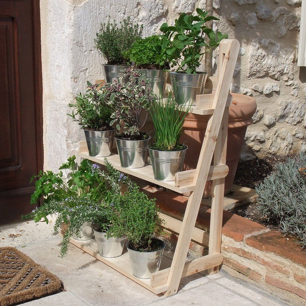 Details About 3 Tier Wooden Flower Stand Herb Plant Pot Shelves