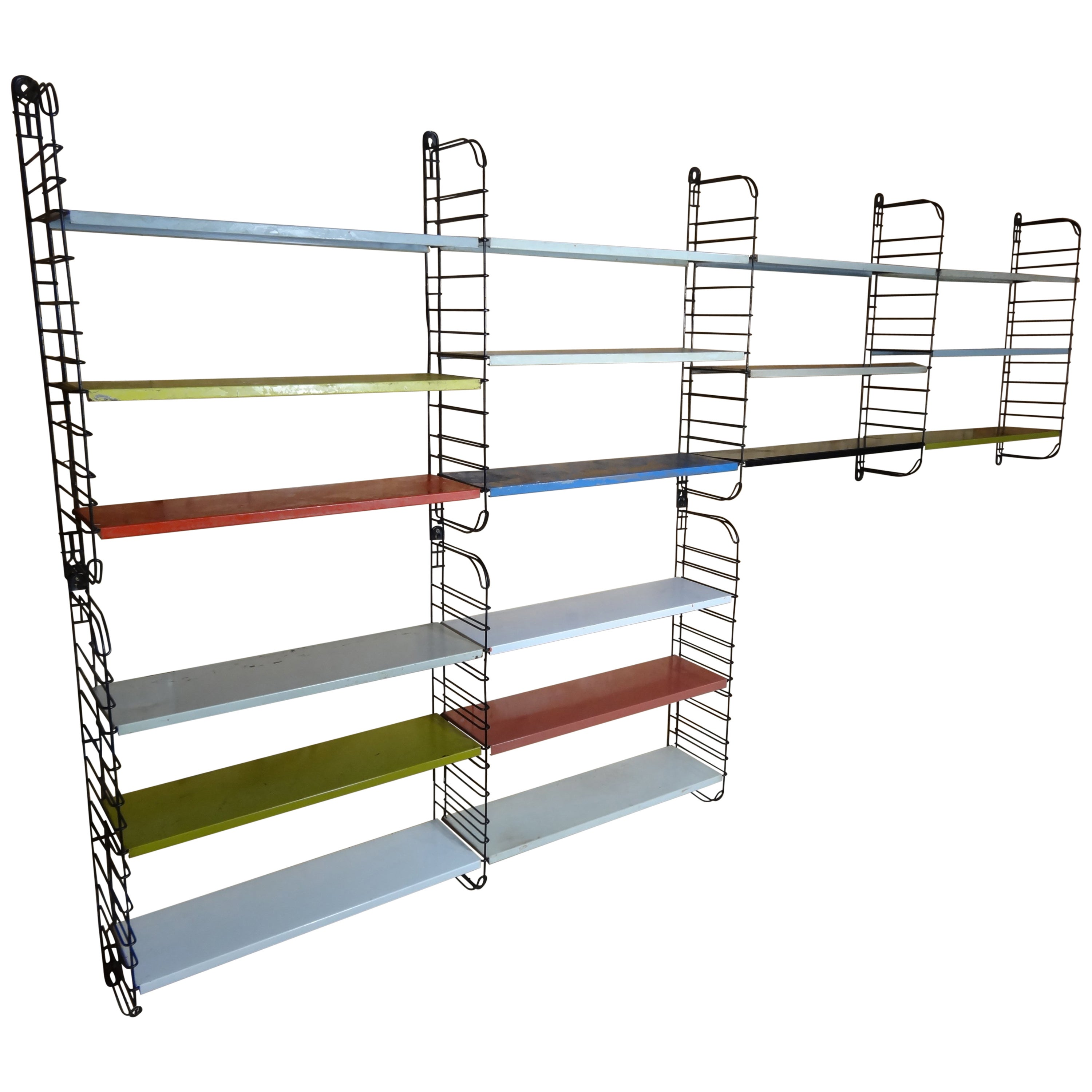 Extra Large Retro 1960s Eight Ladders With 18 Shelves Metal Tomado Shelving  Rack