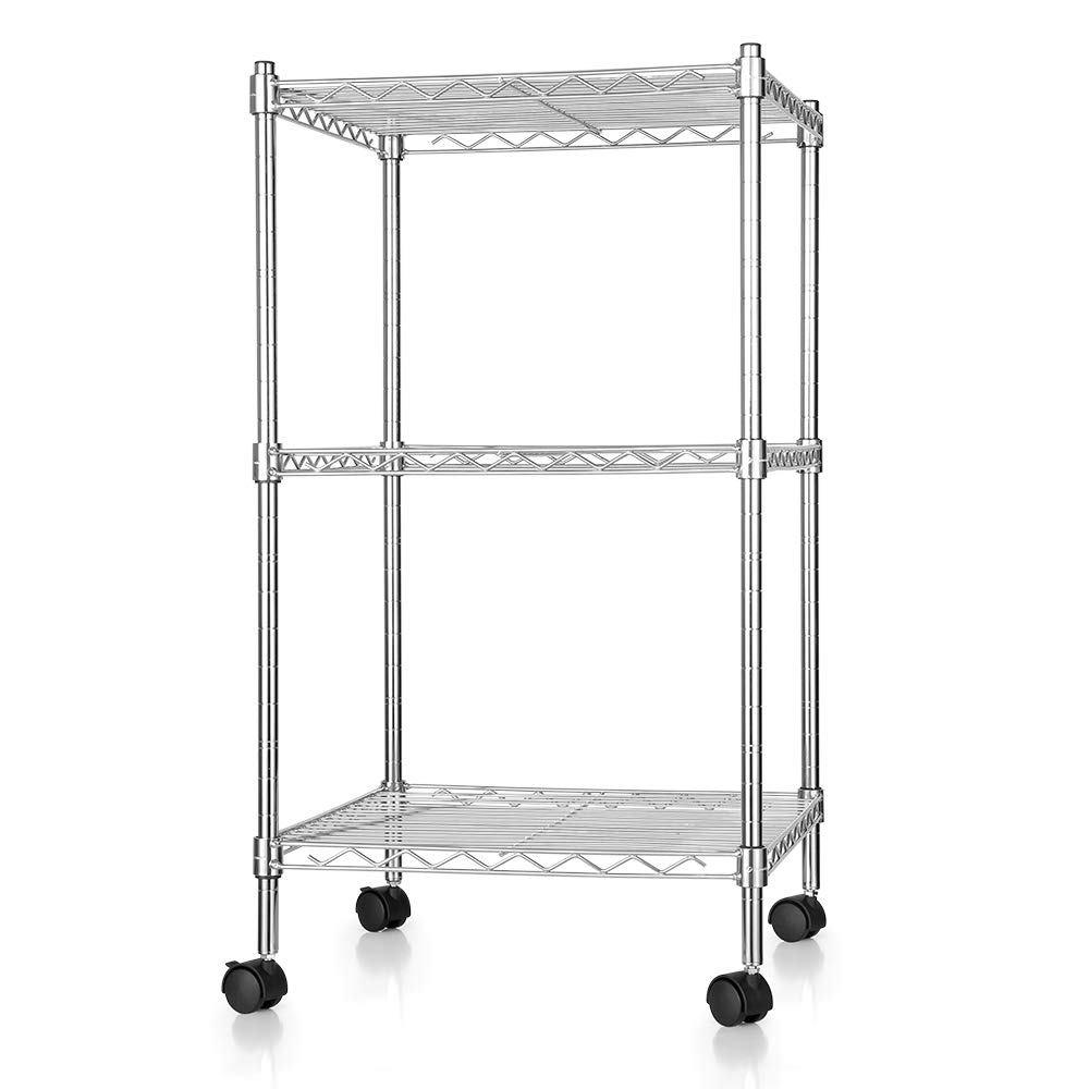 Zanmini Storage Shelves, 3-tier Multifunction Metal Wire Shelves With 4  Rolling Casters And 4 Leveling Feet, Flexible, Adjustable,