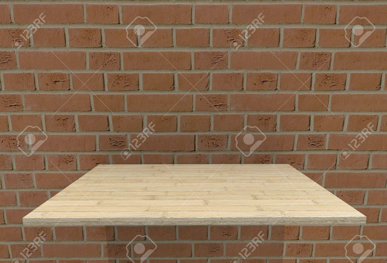 Empty Top Wood Laminate Floor Shelves And Fire Brick Wall Background
