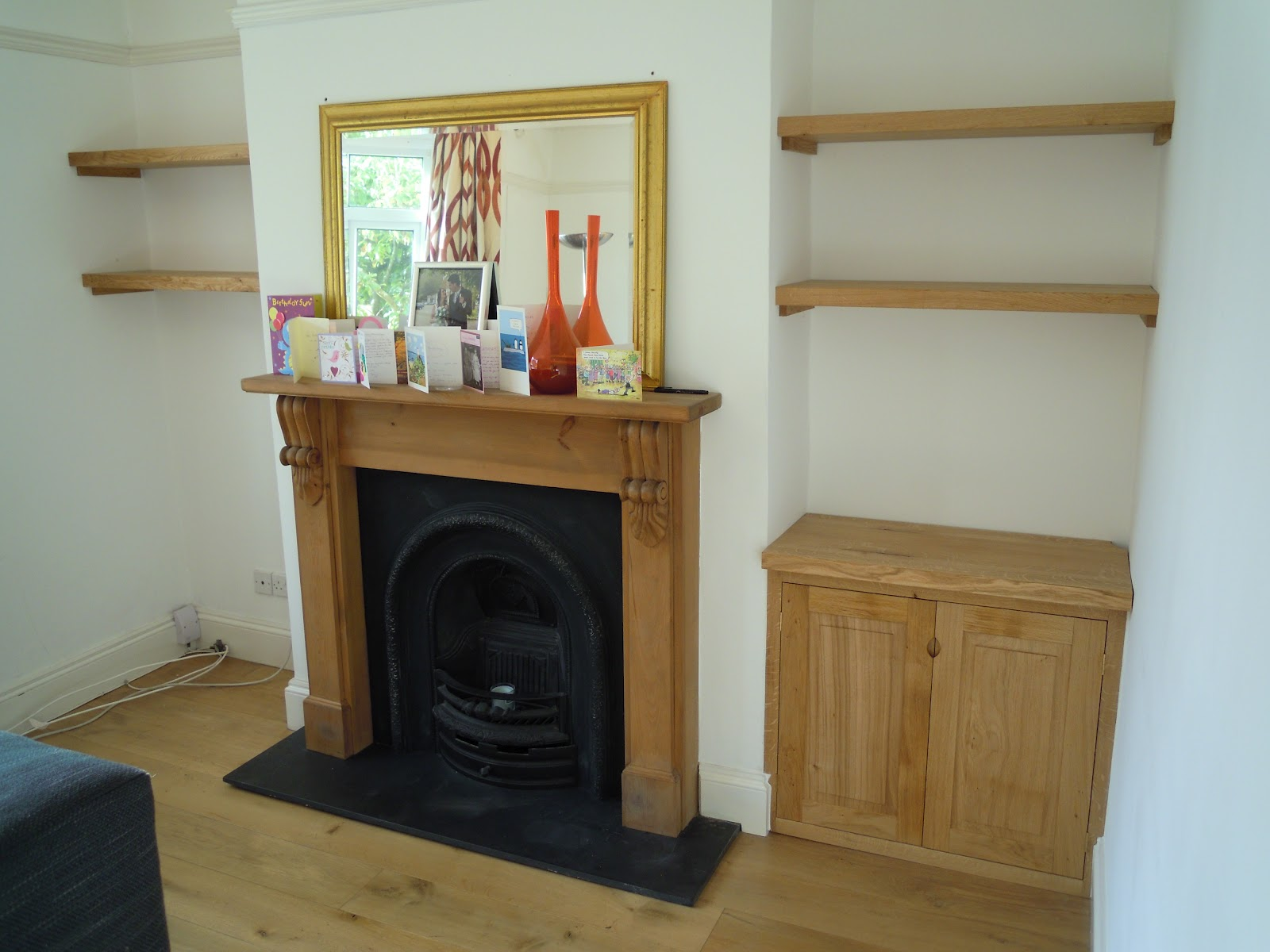 Jim Sharples Furniture: Solid Oak Fitted Alcove Cupboard And Shelves