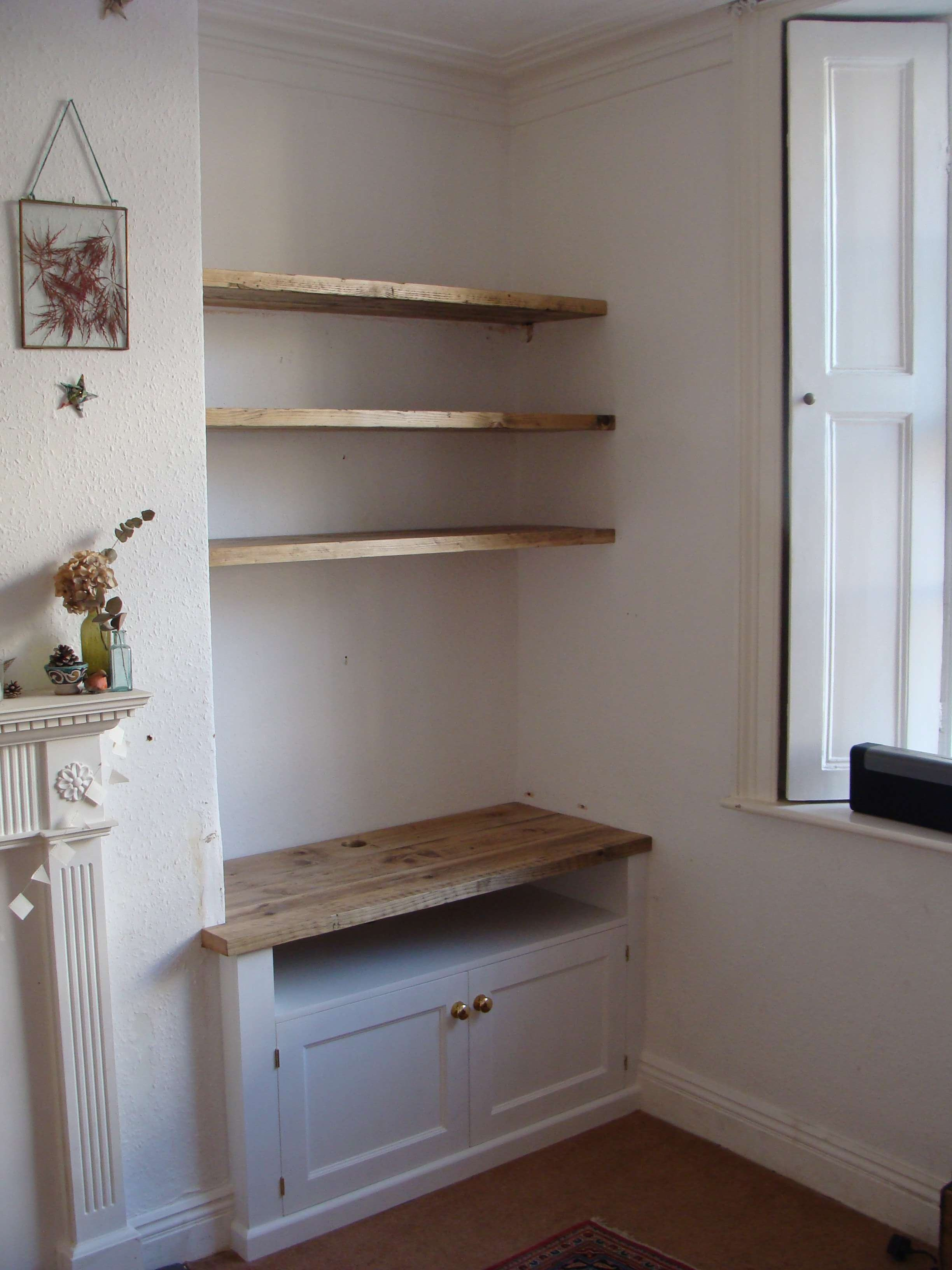 Built In Alcove Tv Unit With Scaffold Board Floating Shelves Above