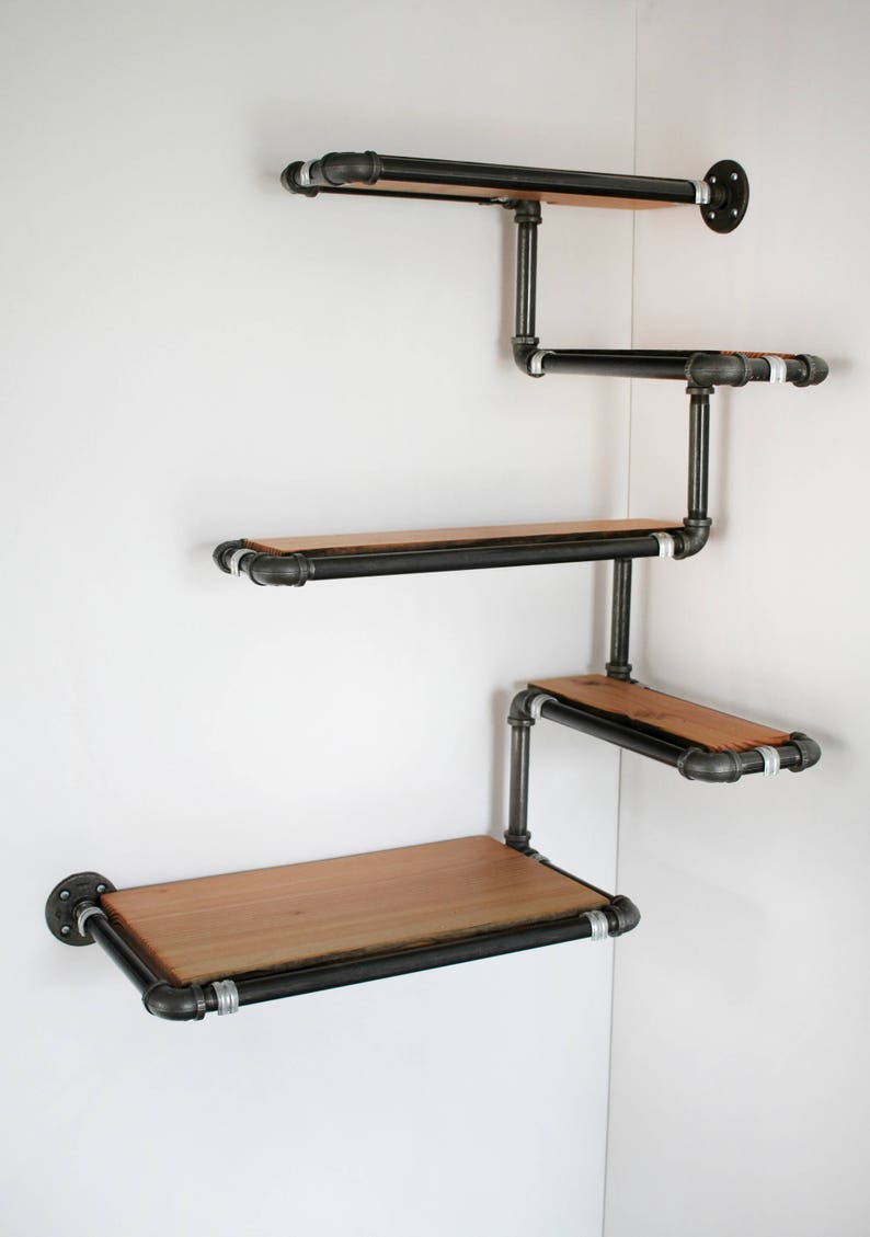 Pipe Wall Shelf With Reclaimed Wood, Custom Pipe Shelves Made To Order  Corner Shelf, Reclaimed Fir And Black Iron Pipe, Space Efficient