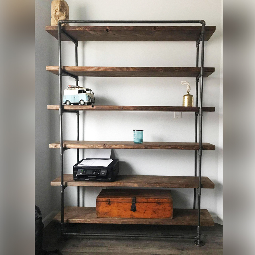 72 In Industrial Pipe Shelving Unit With 6 Wood Shelves