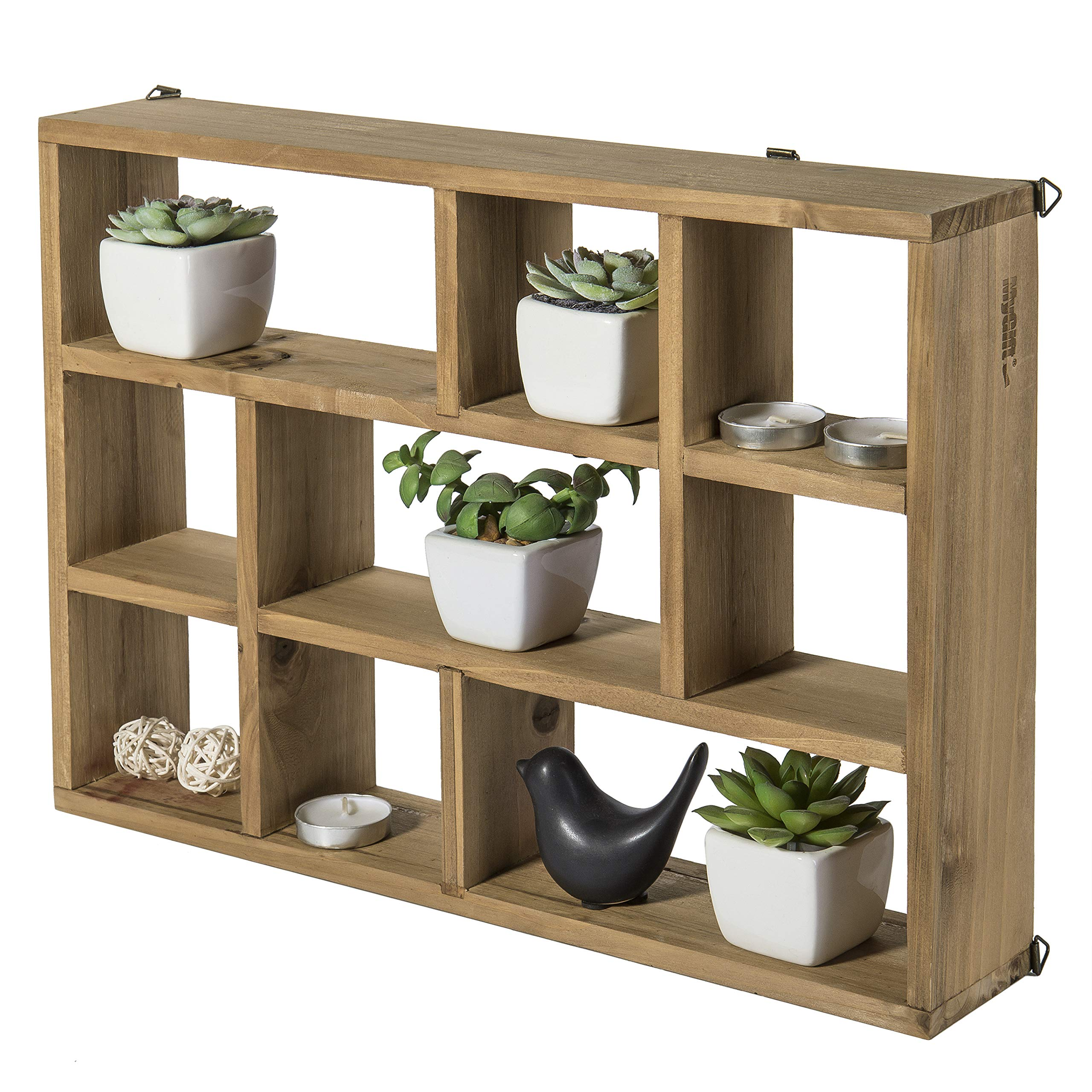 Mygift 15-inch Wall-mounted (vertical Or Horizontal) 9-slot Rustic Wood  Floating Shelves/freestanding Shadow Box, Brown | Lavorist