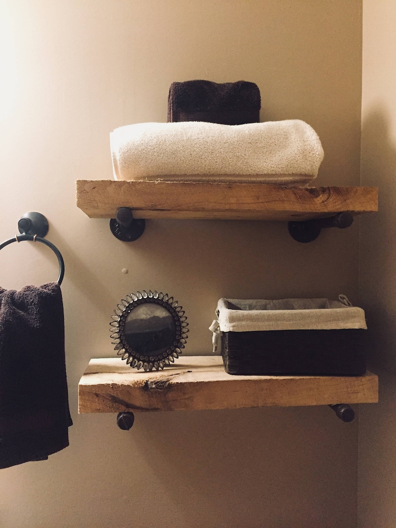 Rough Cut Wood Shelves With Metal Support Bars