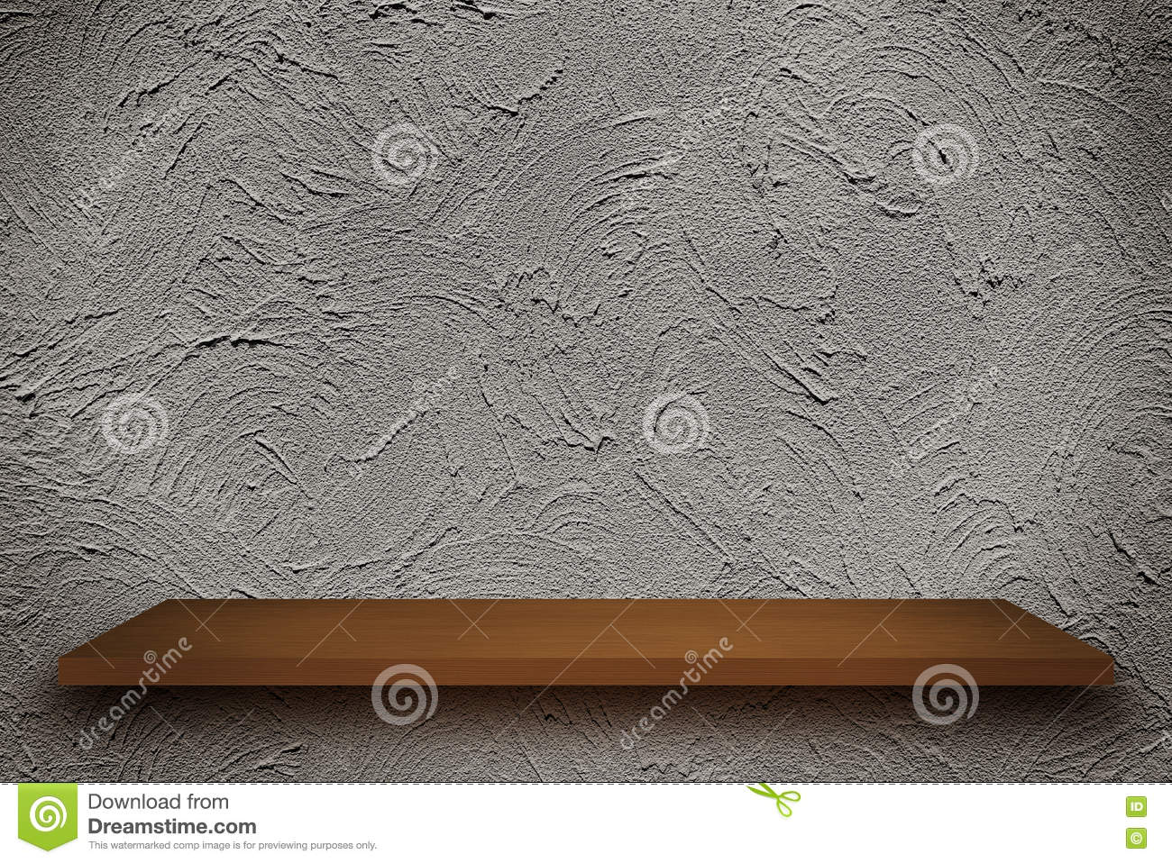 Empty Top Of Wooden Shelves On Rough Wall Background, For Produ