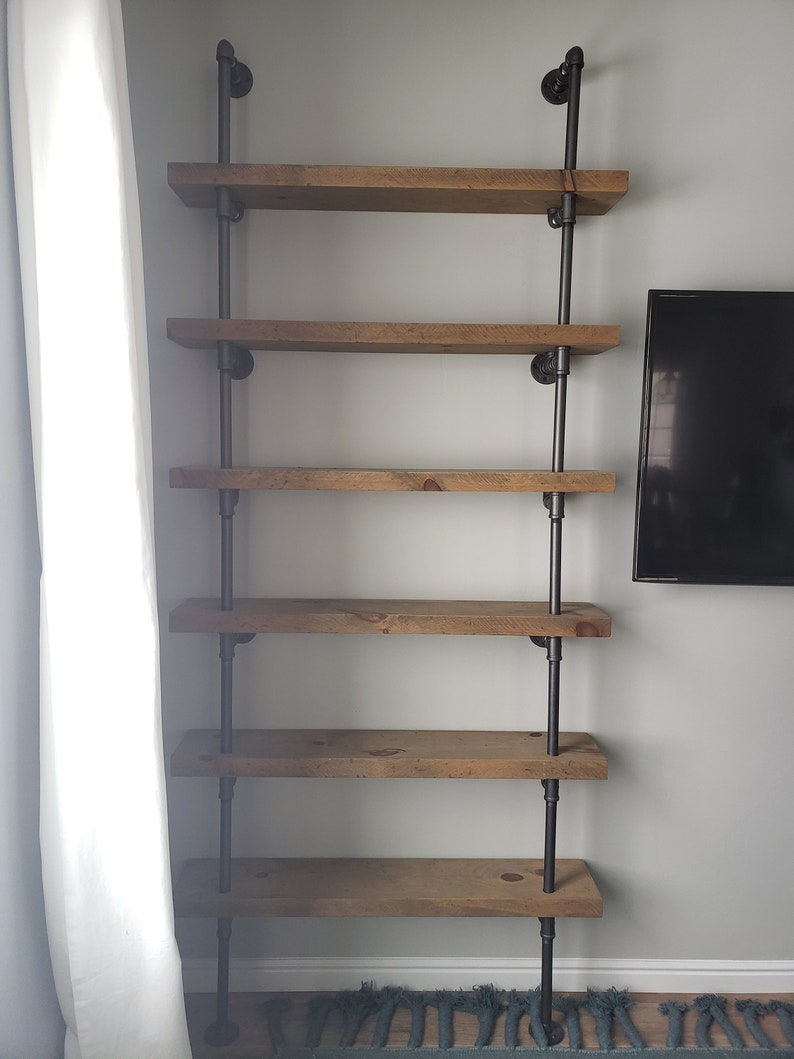 """Pipe Book Shelf With 2"""" Thick Rough Sawn Wood Shelves"""