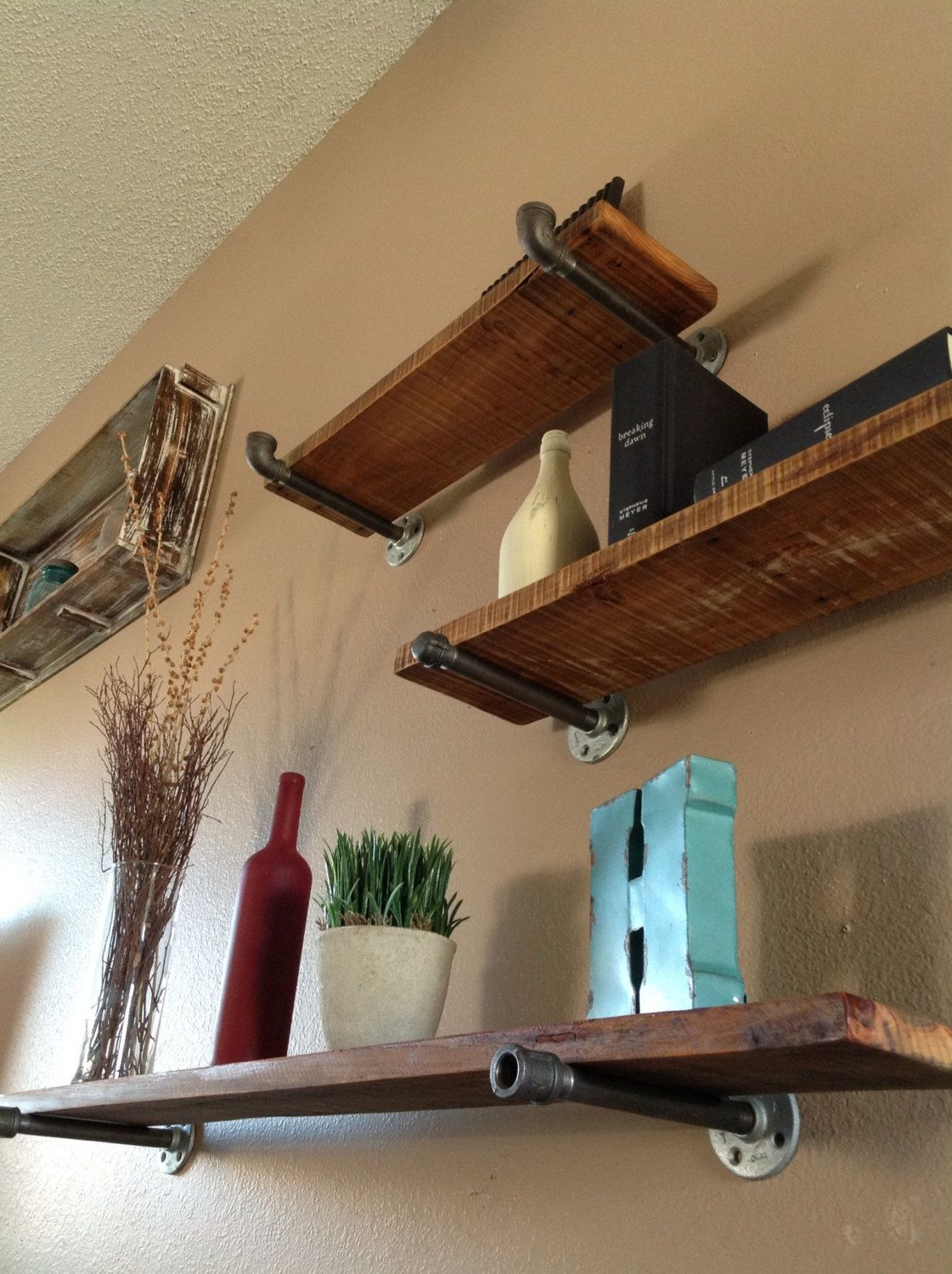 Industrial #floating #shelves Use Rough Cedar Planks And Plumbing