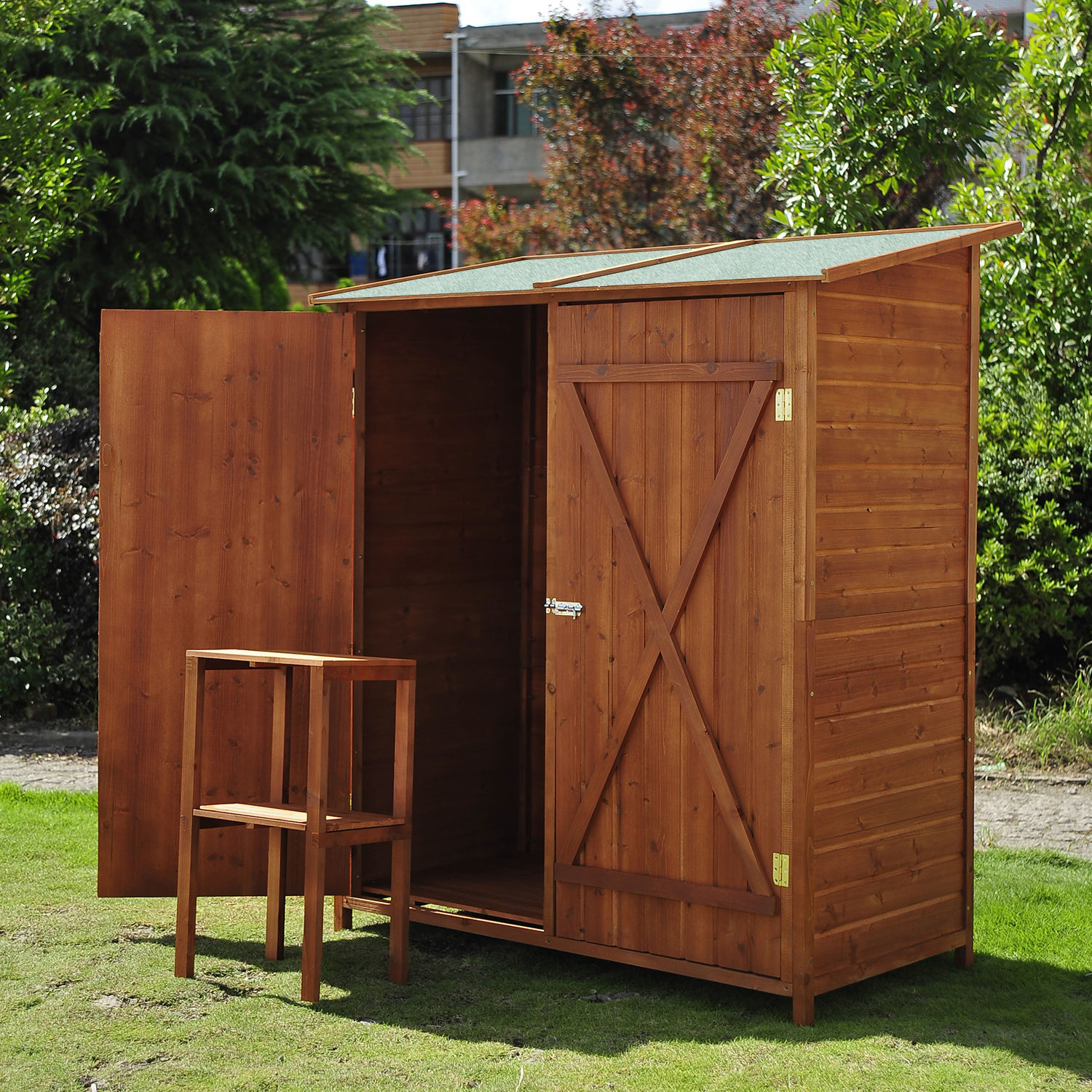 Details About Outsunny Garden Shed Cabinet Box Unit Tool Storage Shelves  Wooden Toolbox