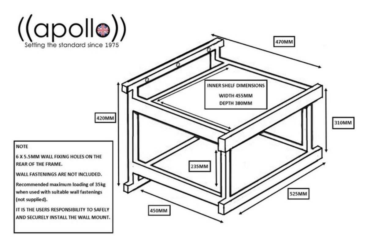 Details About Apollo Wt2 Se 2 Turntable Shelf Hi-fi Wall Support Black  Glass Record Shelves