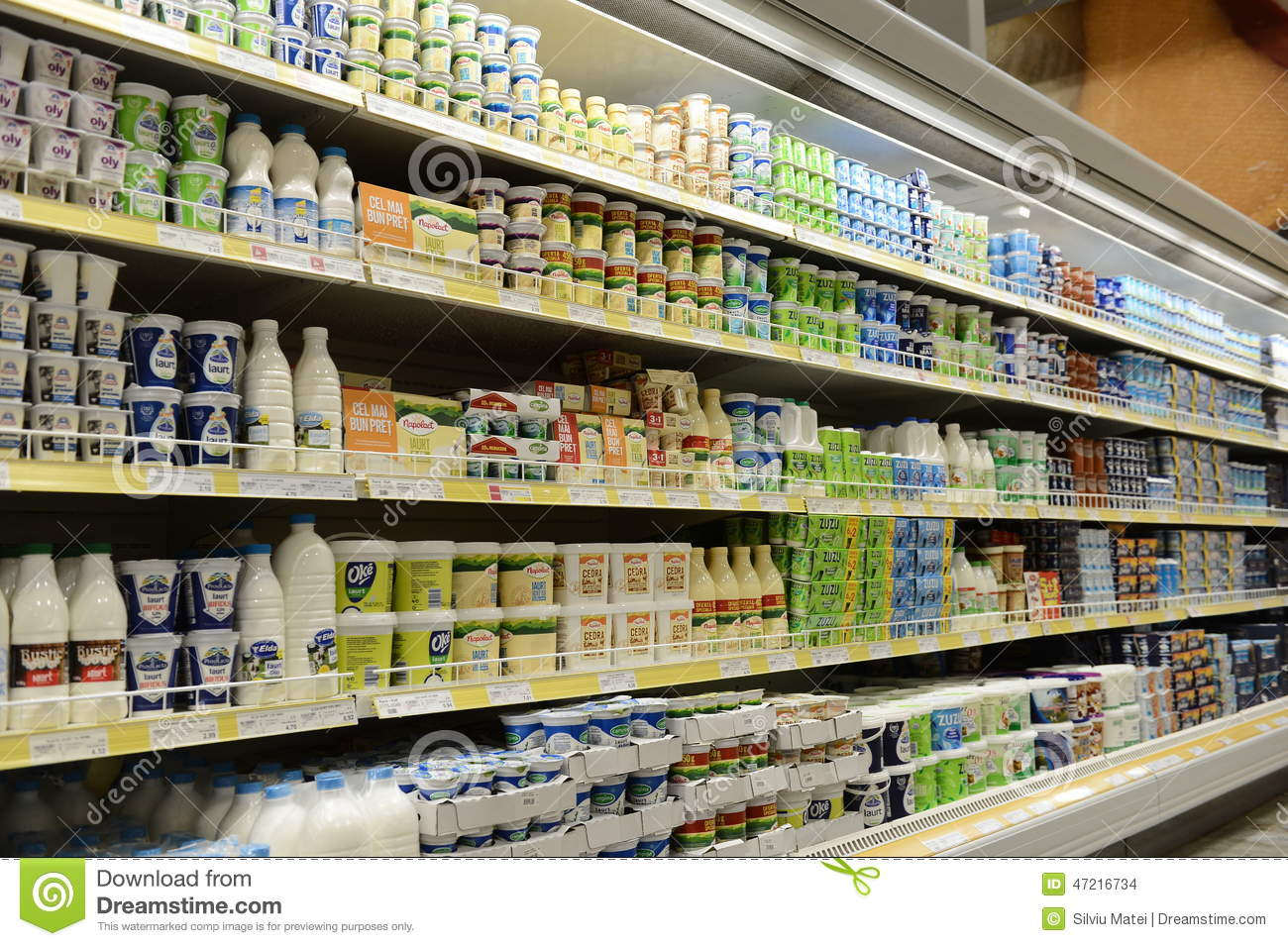Milk And Dairy Products On Shelves Editorial Stock Image - Image Of