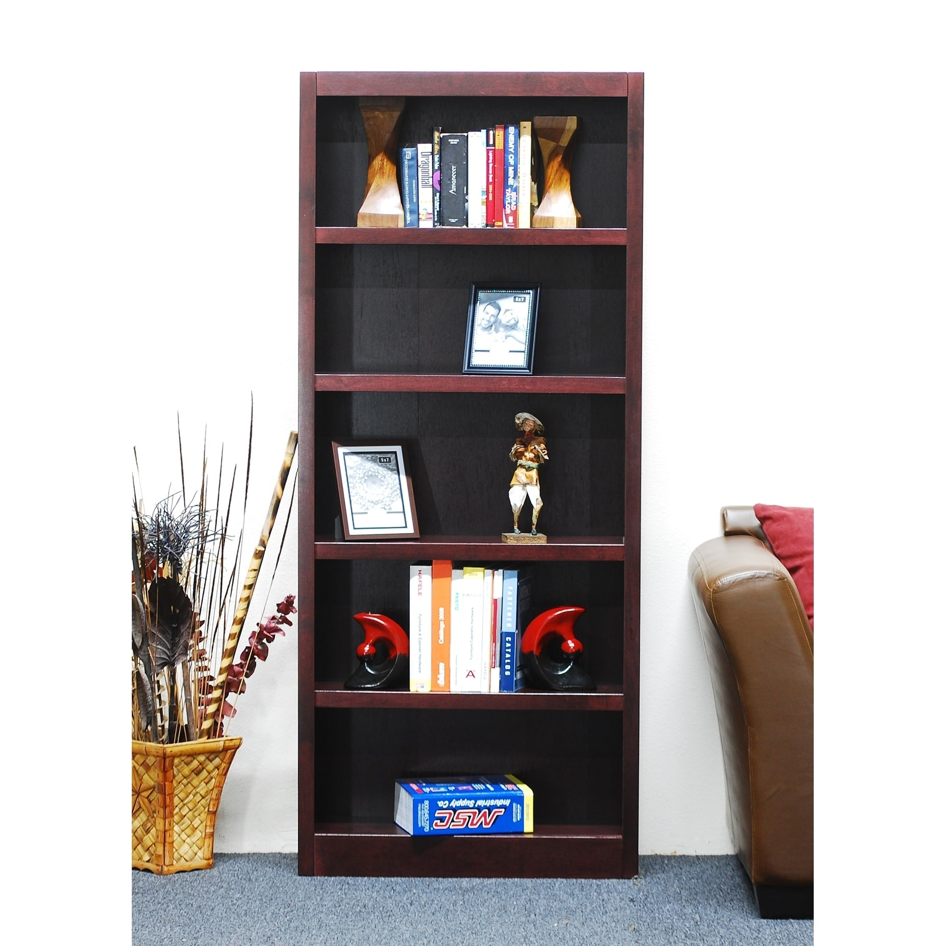 Concepts In Wood Mi3072 Single Wide Bookcase, 5 Shelves