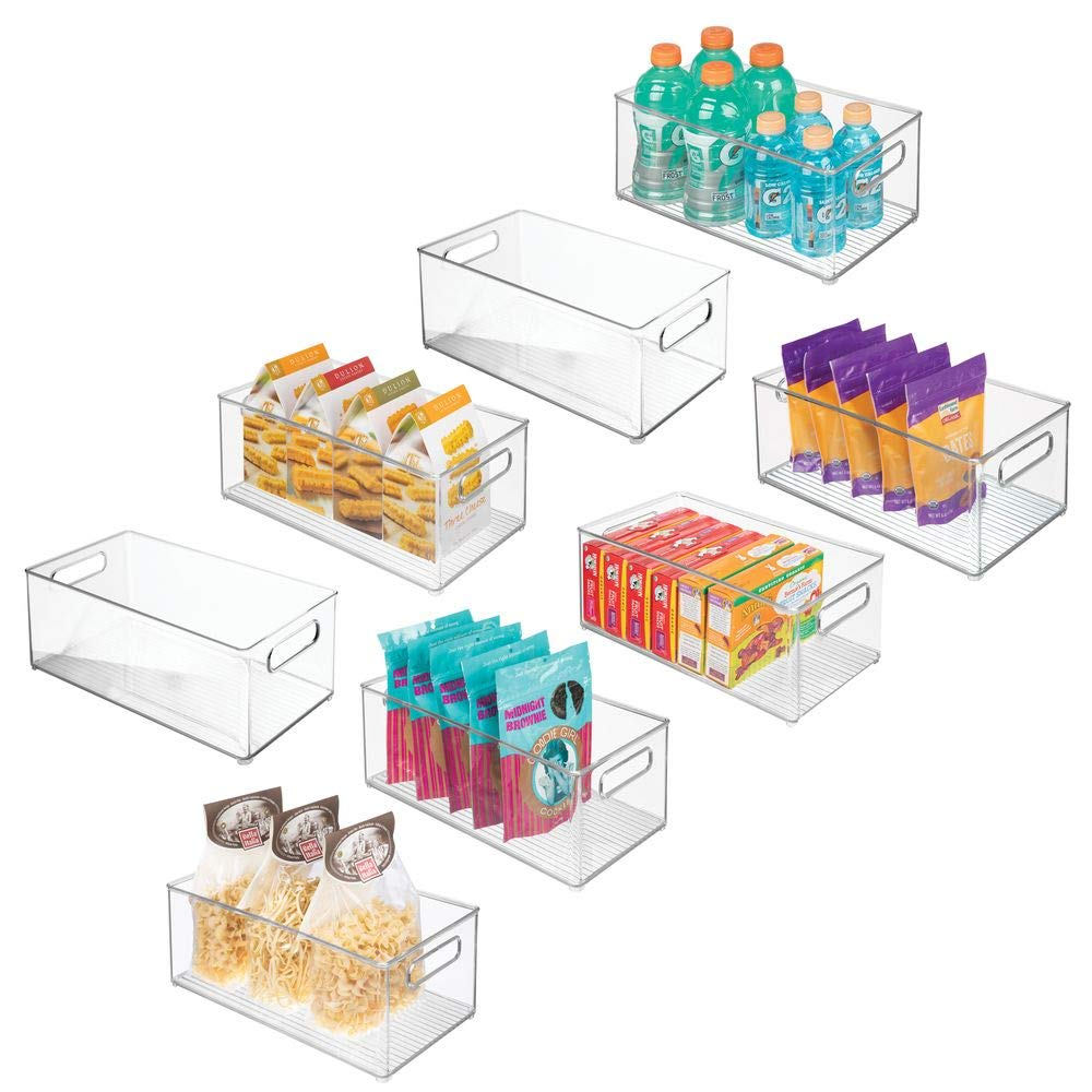 """Mdesign Deep Plastic Kitchen Storage Organizer Container Bin With Handles  For Pantry, Cabinets, Shelves, Refrigerator, Freezer - Bpa Free - 145"""""""