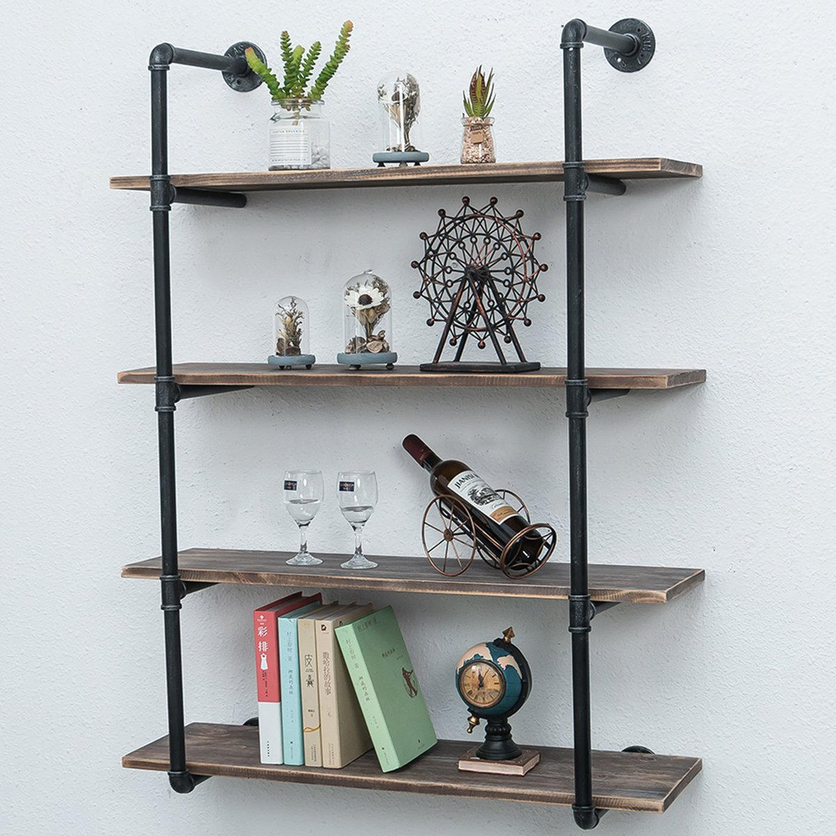 Industrial Pipe Shelves With Wood 4-tiers,rustic Wall
