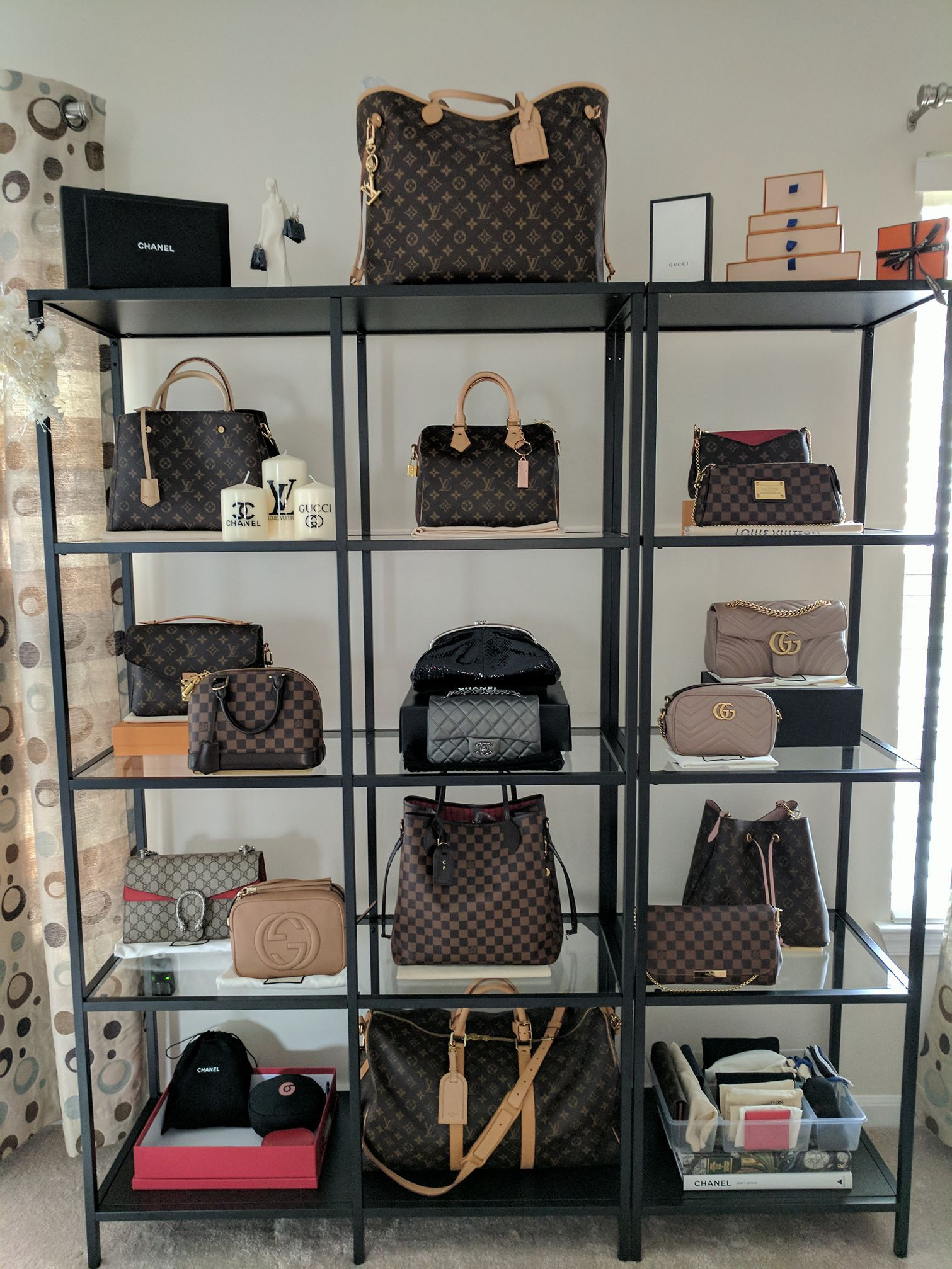 Love These Shelves For Displaying All Your Bags!   Fashionable