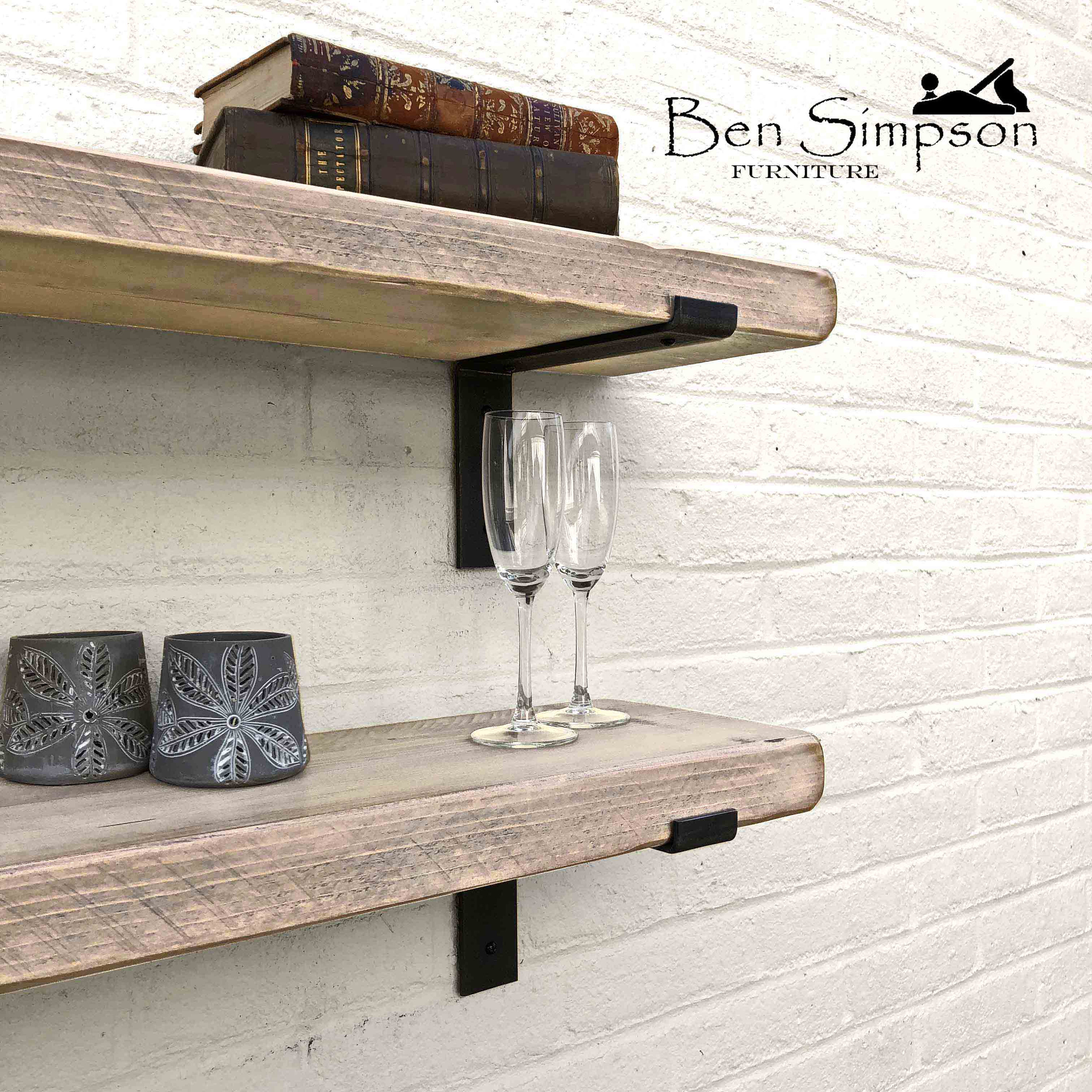 Rustic Shelves Handcrafted With Industrial Metal Shelf Brackets In A Shabby  Chic Finish | 5cm Thickness | Ben Simpson Furniture