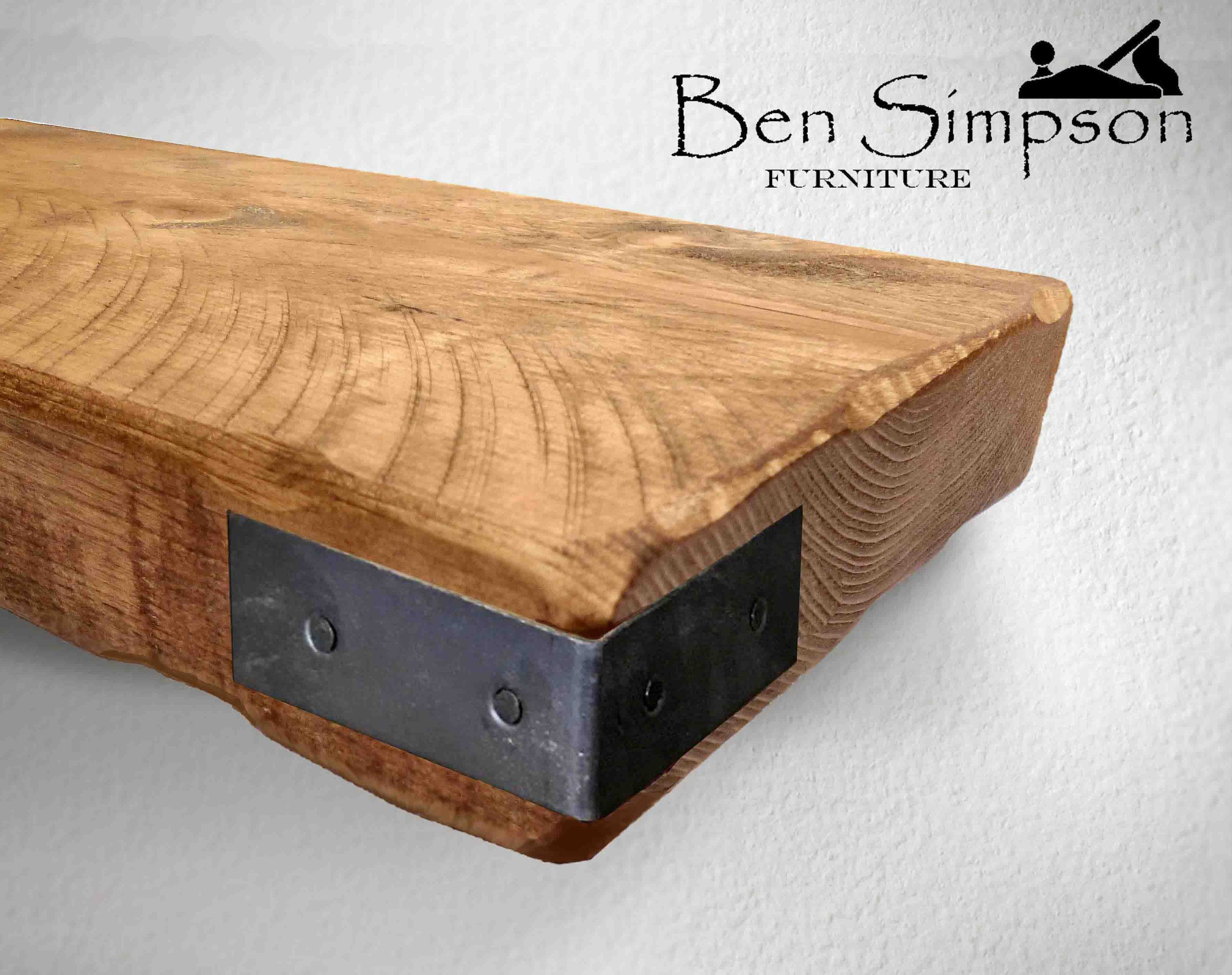 Rustic Floating Shelves Handcrafted Using Sustainable Solid Wood With  Corner Straps | 15cm Depth X 5cm Thickness | Ben Simpson Furniture