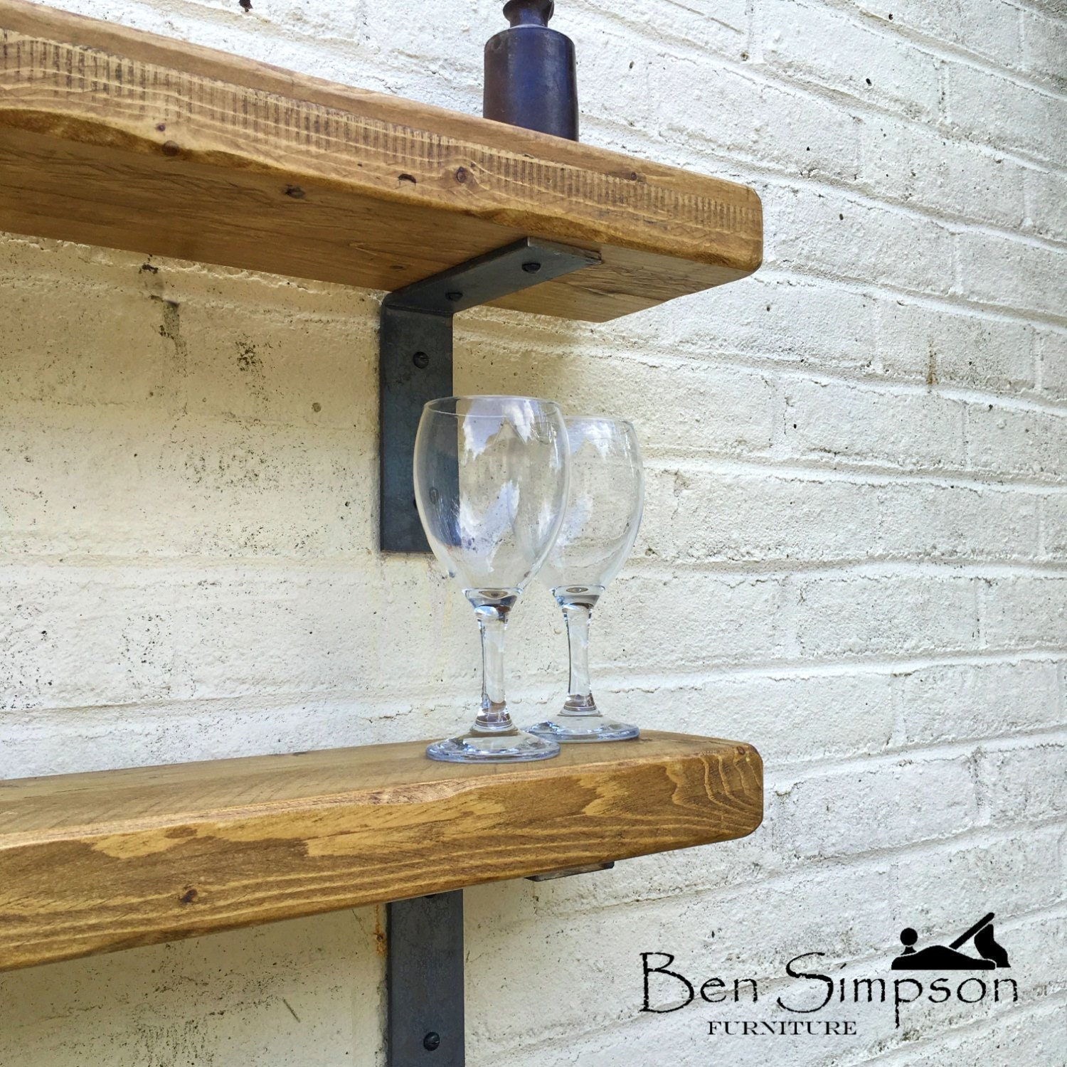 Rustic Shelves Handcrafted With Industrial Metal Shelf Brackets Using Solid  Wood   22cm Depth X 5cm Thickness   Ben Simpson Furniture