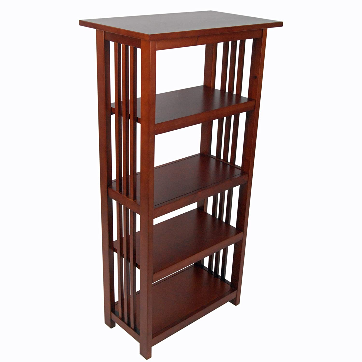 """Mission 48"""" H Bookcase With 4 Shelves, Cherry"""