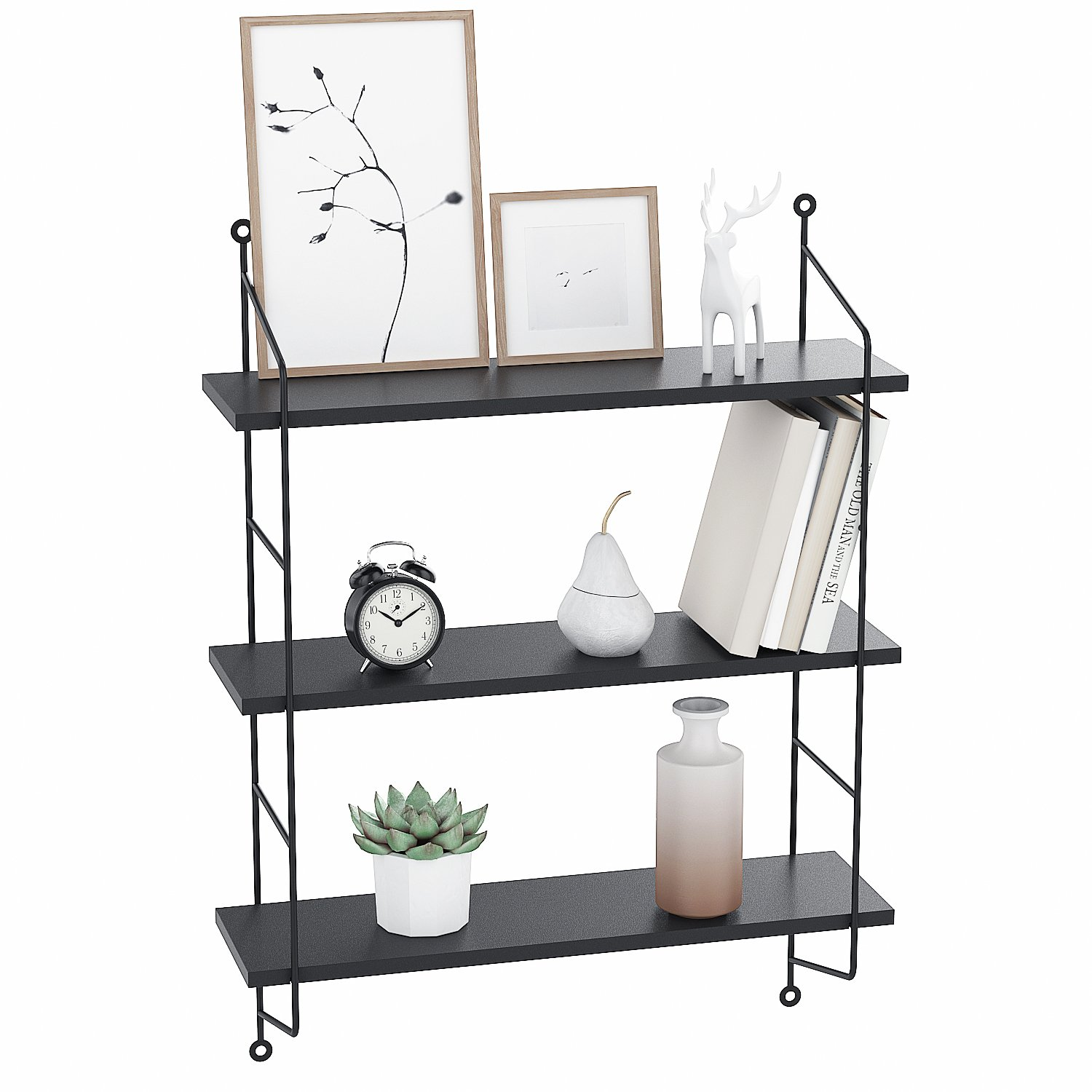 Floating Shelves Wall Mounted, Industrial Metal Frame Wood Wall Storage  Shelves For Bedroom, Living Room, Bathroom, Kitchen, Office And More, 3