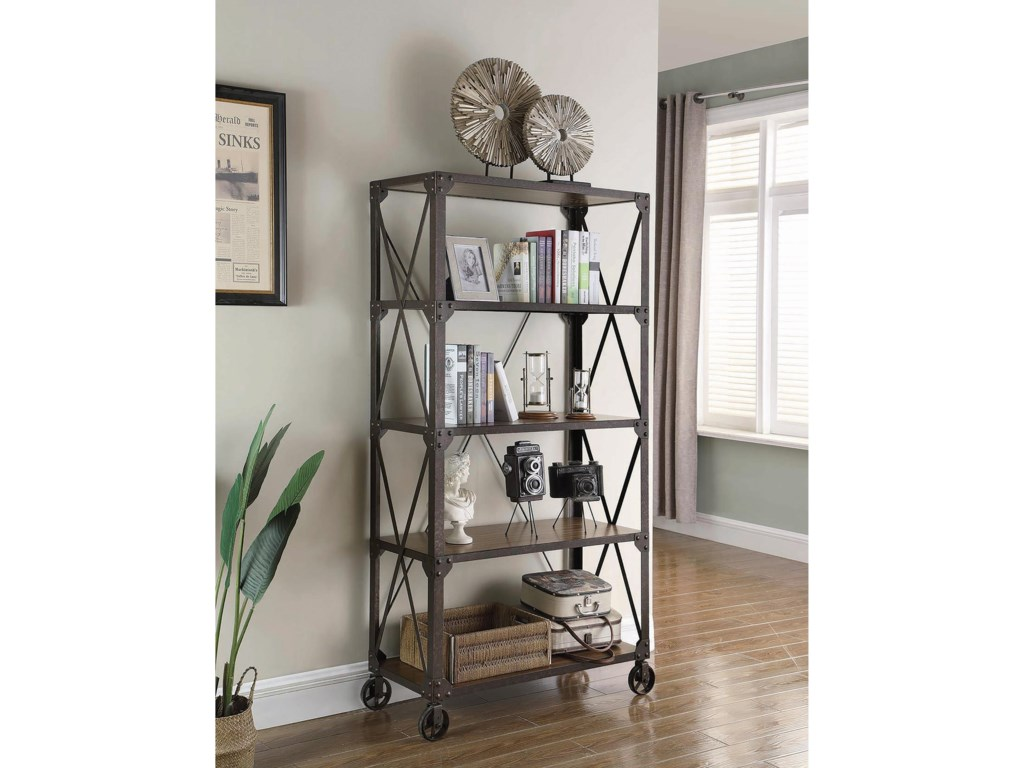 Coaster Accent Cabinets Industrial Bookcase With 4 Shelves And