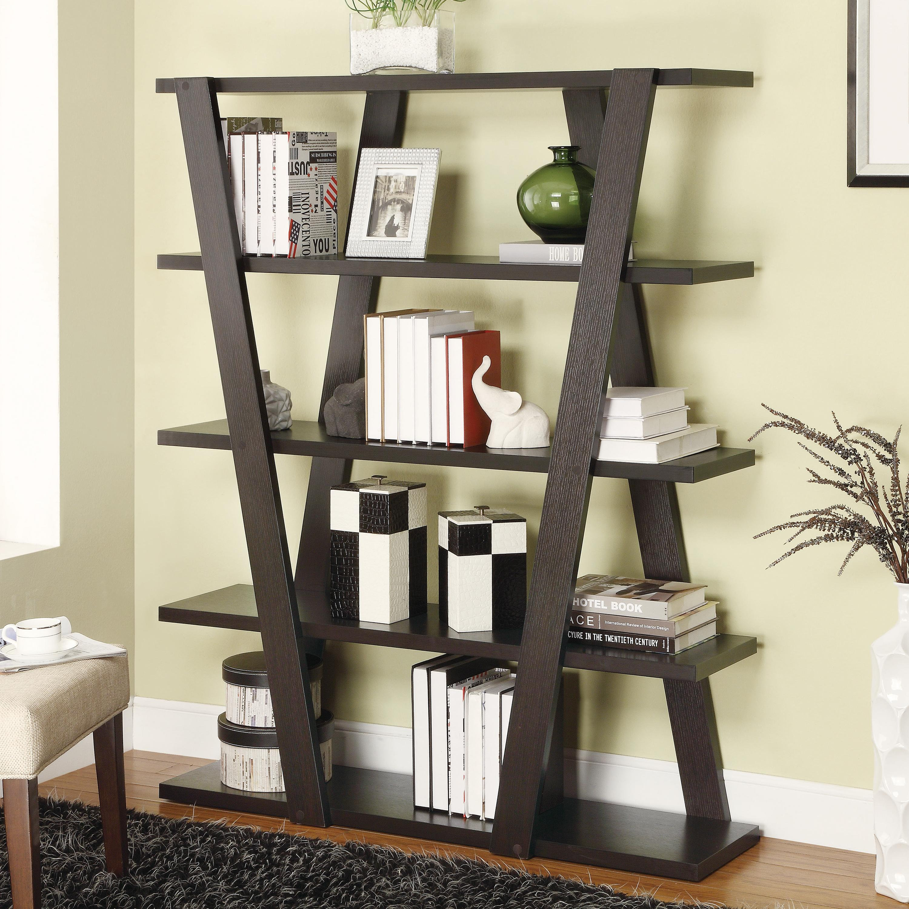 Modern Bookshelf With Inverted Supports & Open Shelves - Bookcases