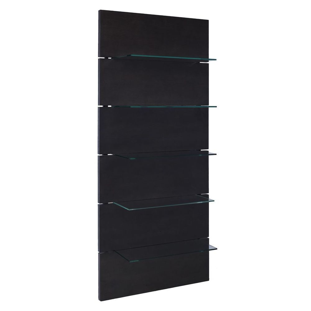 Wooden Bookcase 5 Shelves Black Finish Clear Glass Shelf