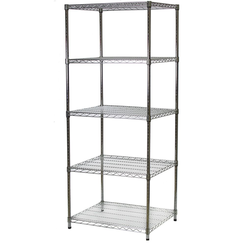 """Industrial Wire Shelving Unit With 5 Shelves - 24""""d X 30""""w"""