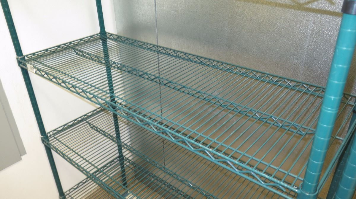 """Green Focus Epoxy Coated Wire Shelving Unit - 6 Shelves 885"""" High"""