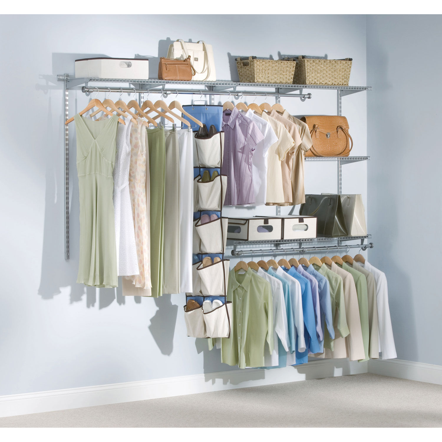 "Configurations Custom Closet Kit, 5 Shelves, 13 1/4"" X 49 1/8"" X 2 1/2"",  White"
