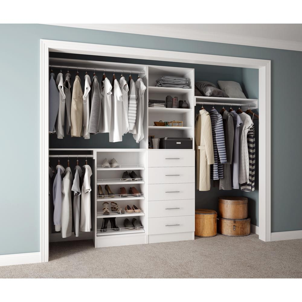Home Decorators Collection Assembled Reach-in 15 In D X 120 In W X 84 In  H Calabria In A Bianco White Melamine 11-shelves Closet System