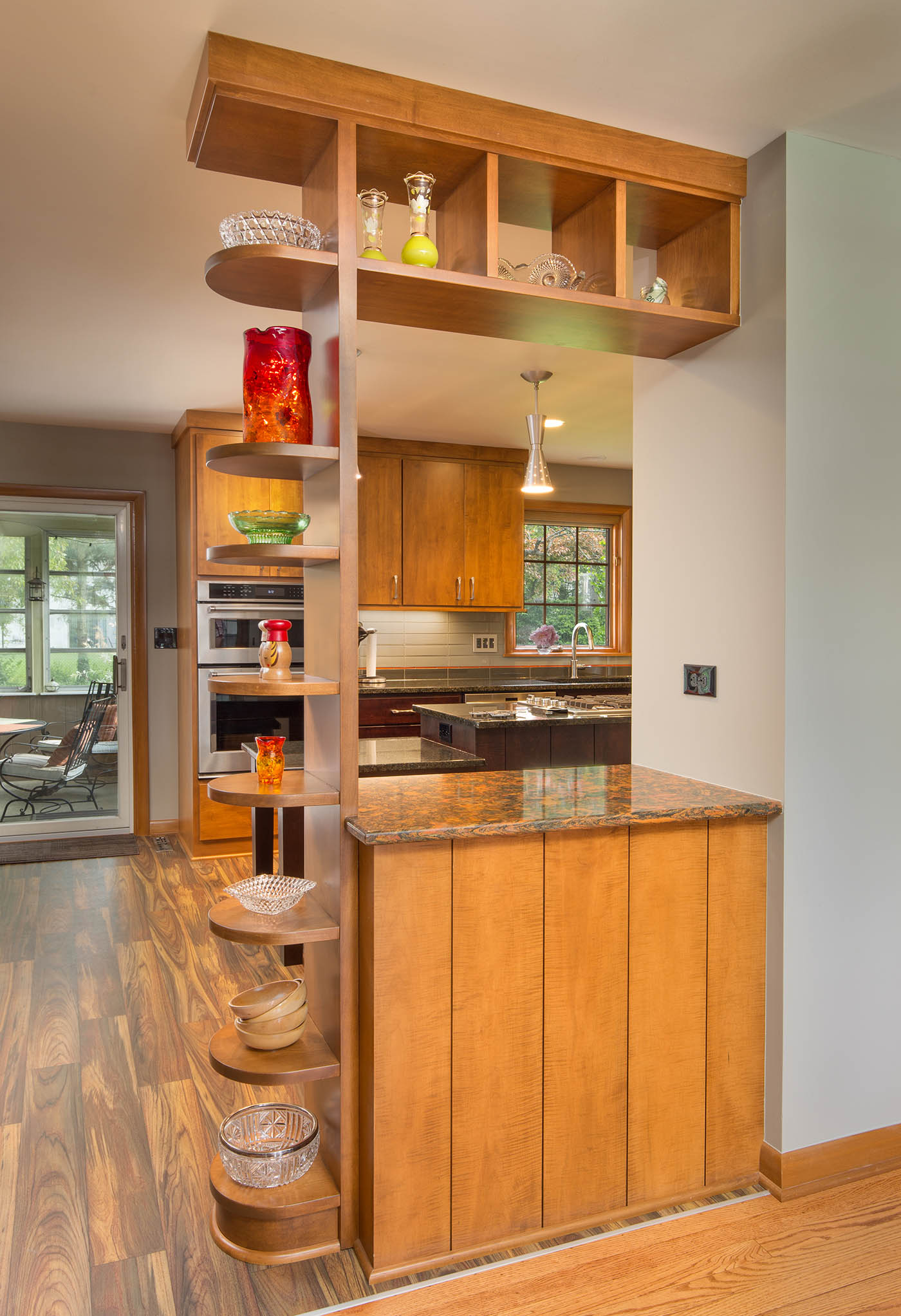 Kitchen Mid Century Modern Wood Shelves - The Cleary Company