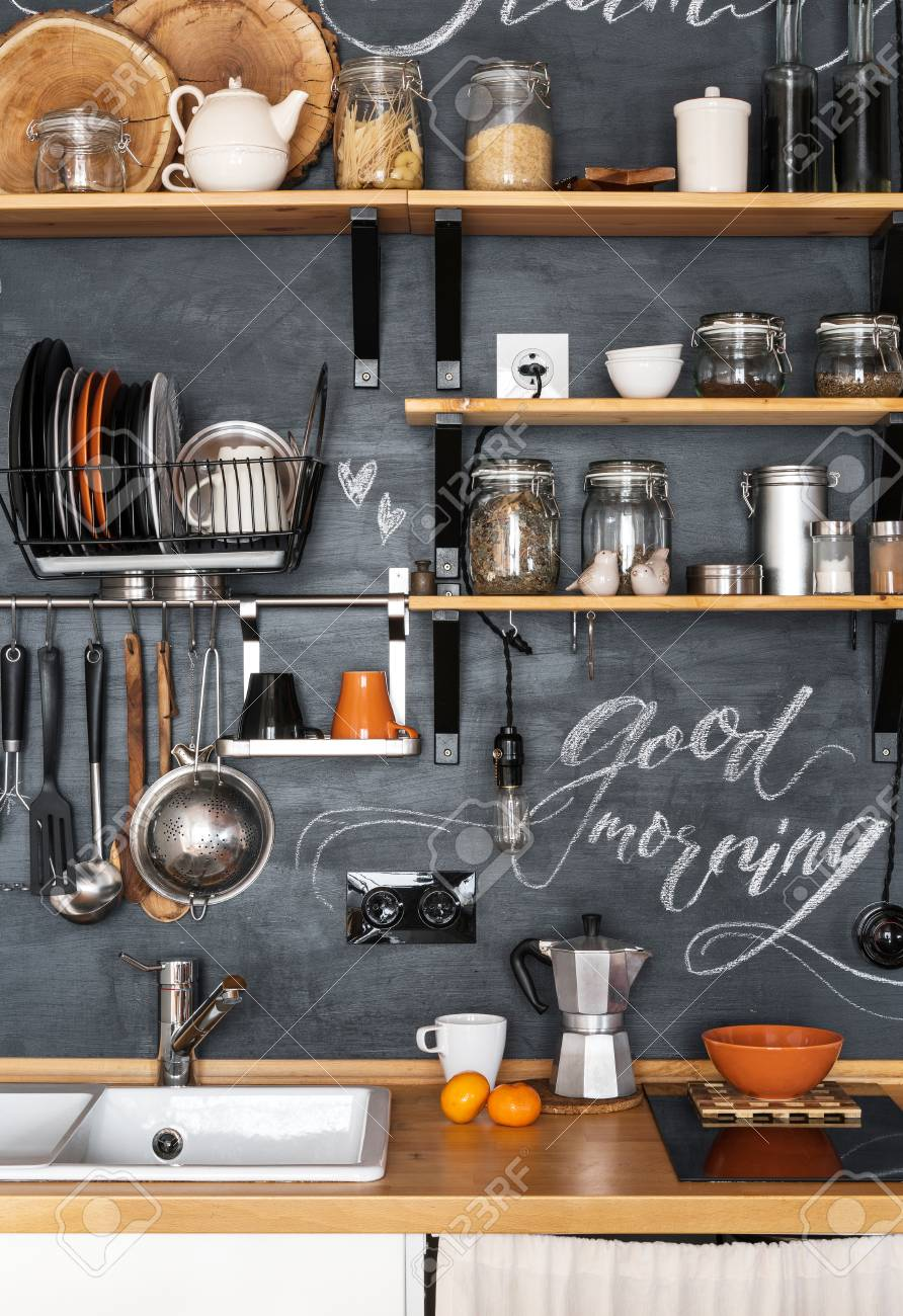 Design Of Modern Kitchen In Loft And Rustic Style Wooden Shelves