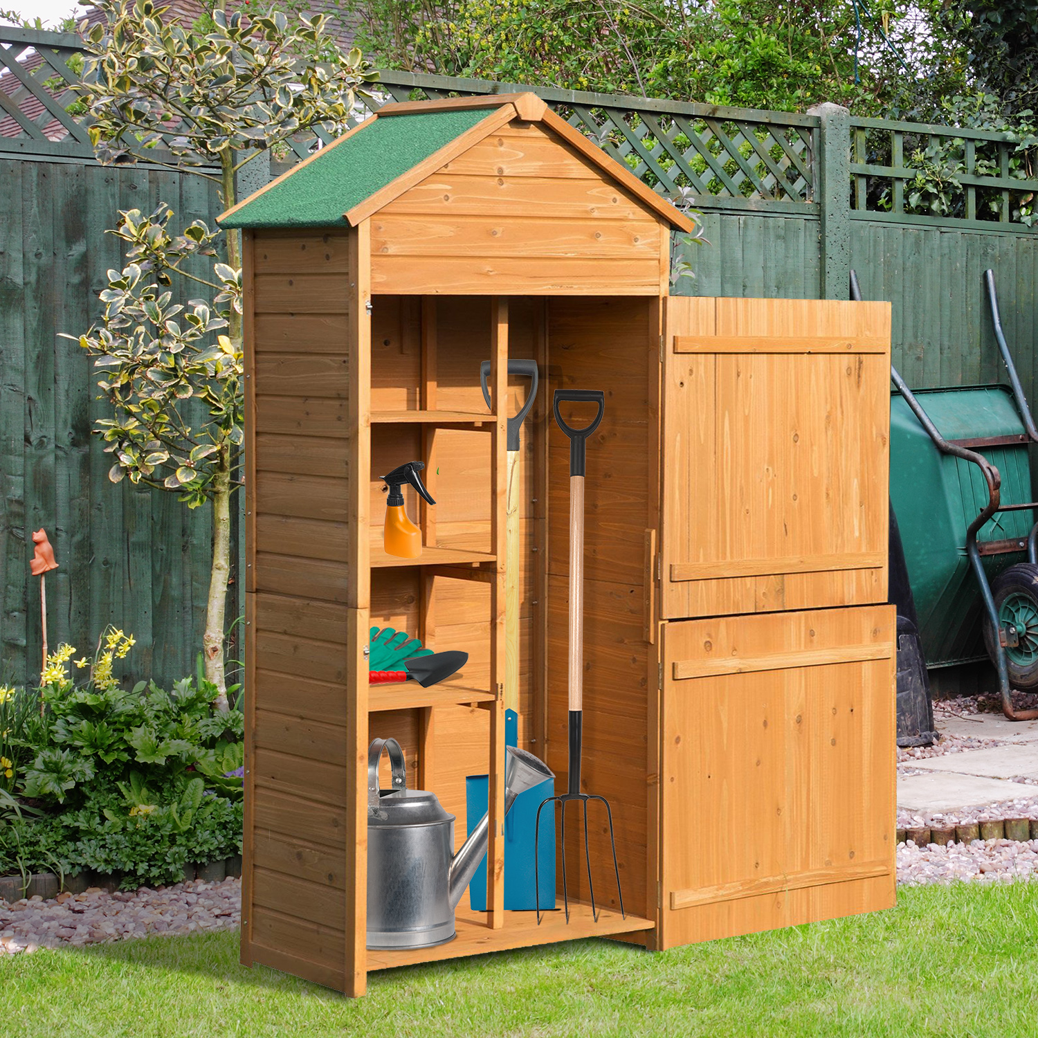 Details About Outsunny 90x50cm Wooden Garden Shed Outdoor Shelves Utility  Tool Storage Cabinet