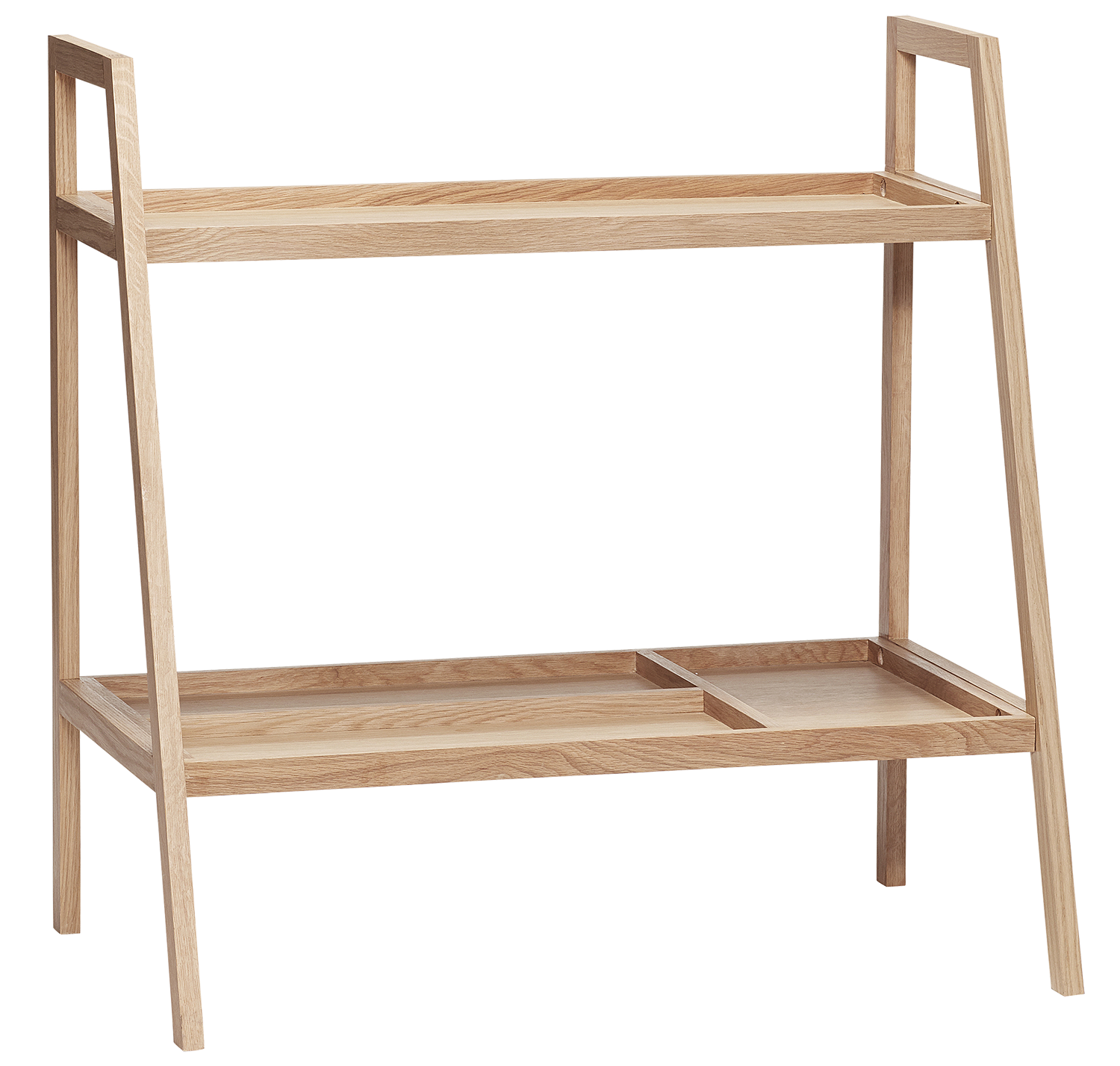 Hubsch Multilayered Shelving Unit In Tan, Natural Oak Frame With Two Shelves