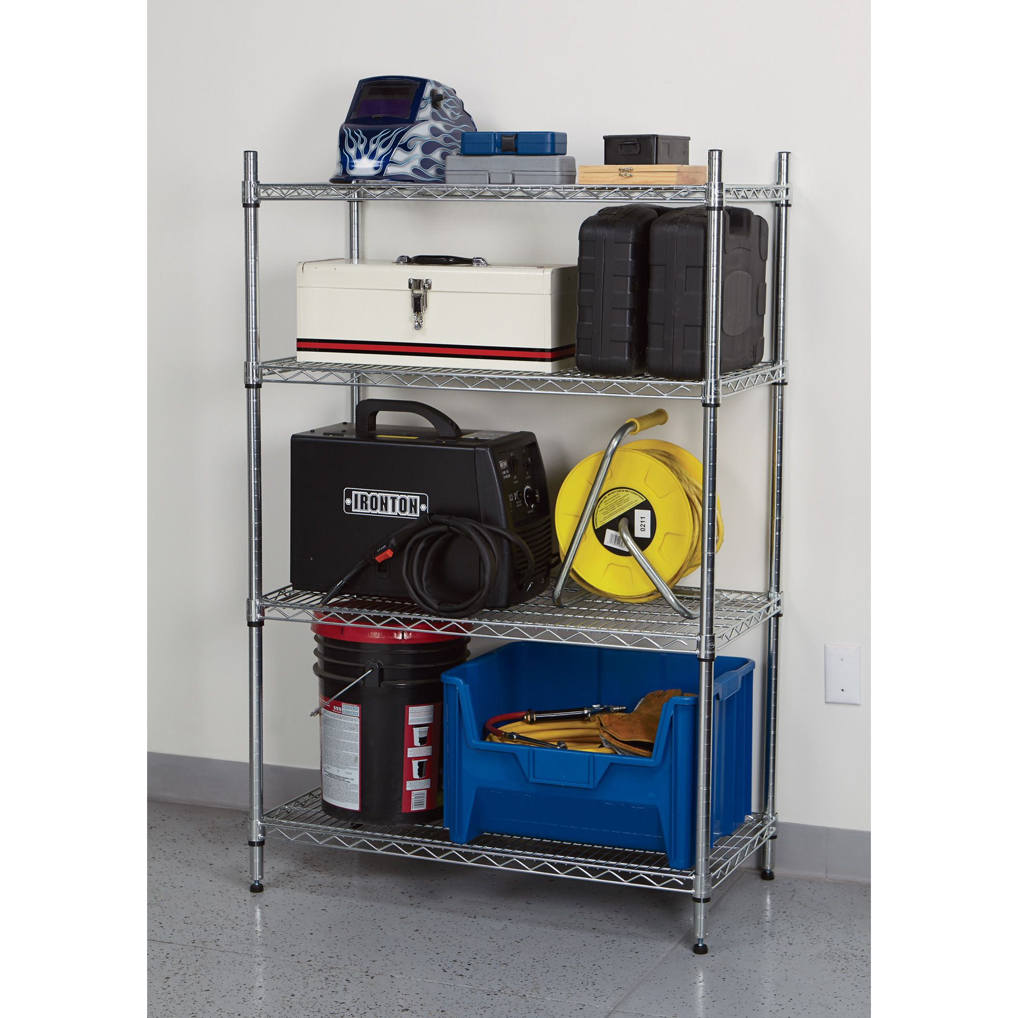 Strongway Heavy-duty Wire Shelving System — 4 Shelves, 800