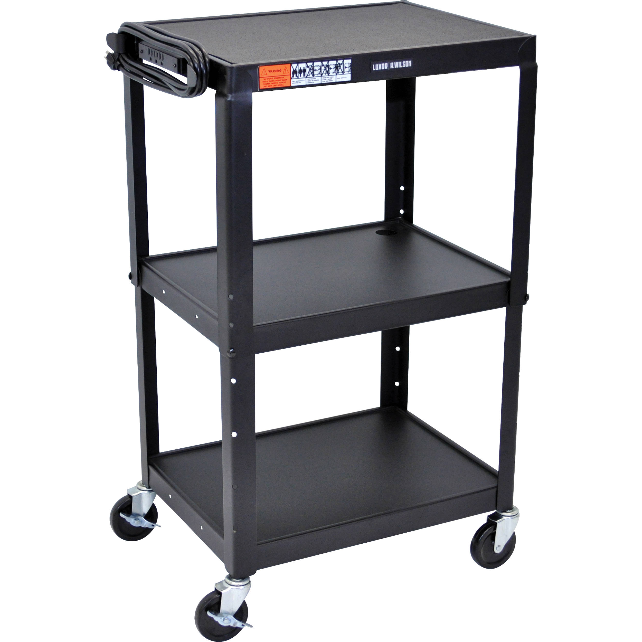 Luxor Steel Adjustable Height Av Cart With Three Shelves (black)