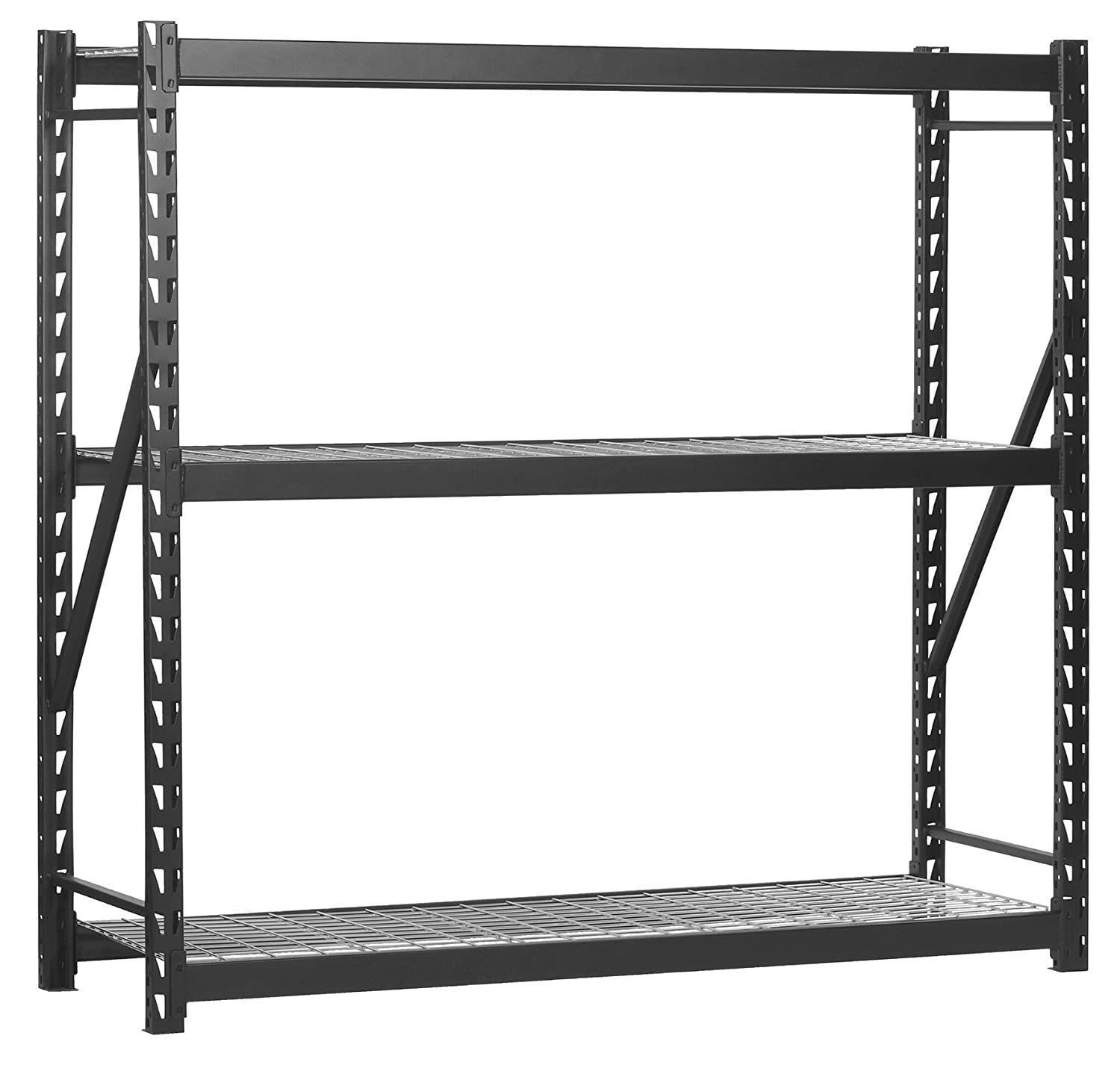 "Muscle Rack Erz772472wl3 Black Heavy Duty Steel Welded Storage Rack, 3  Shelves, 1,000 Lb Capacity Per Shelf, 72"" Height X 77"" Width X 24"" Depth"