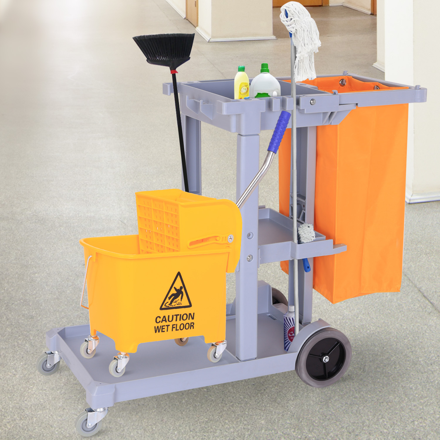 Details About Janitorial Cleaning Cart Rolling Janitor Uitility Cart W/ 3  Shelves & Vinyl Bag