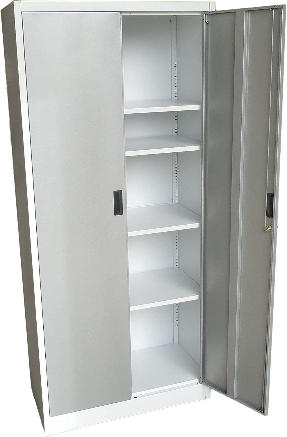 "Fedmax Steel Storage Cabinet 71"" Tall, Lockable Doors And Adjustable  Shelves, (choose Color) 7086"" Tall X 315"" W X 1575"" D (white)"