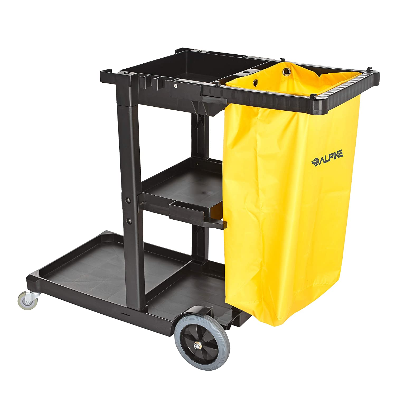 Alpine Industries Traditional Janitorial Cleaning Cart With 3 Shelves -  Commercial Rolling Janitor
