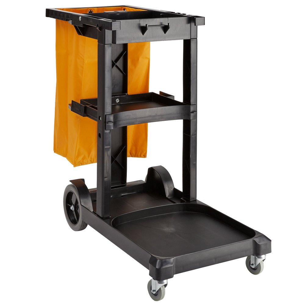 Lavex Janitorial Black Cleaning Cart / Janitor Cart With 3 Shelves, Large  Bottom Shelf, And Yellow Vinyl Bag