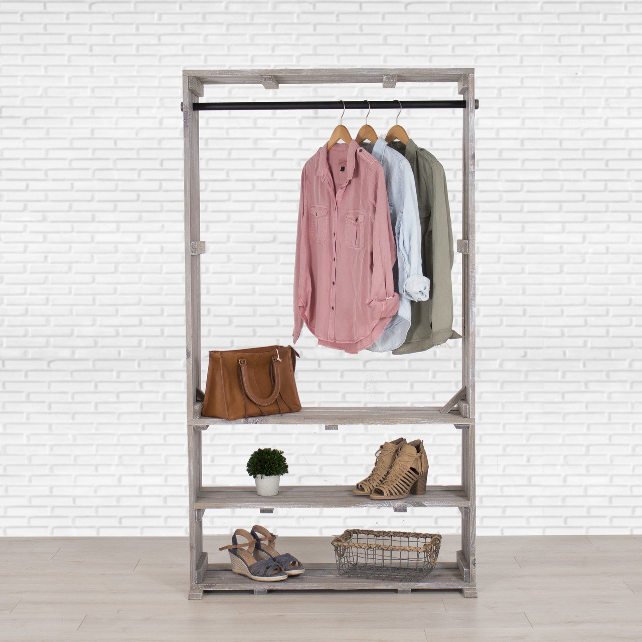 Wooden Clothing Rack With Shelves, Free Standing Clothing Storage
