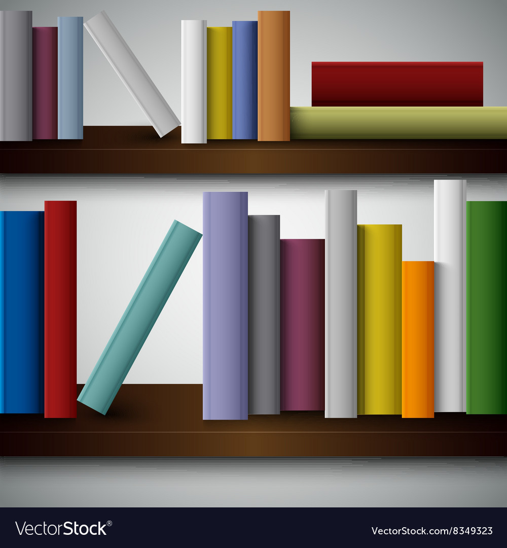 Colorful Books On The Shelves Template Royalty Free Vector