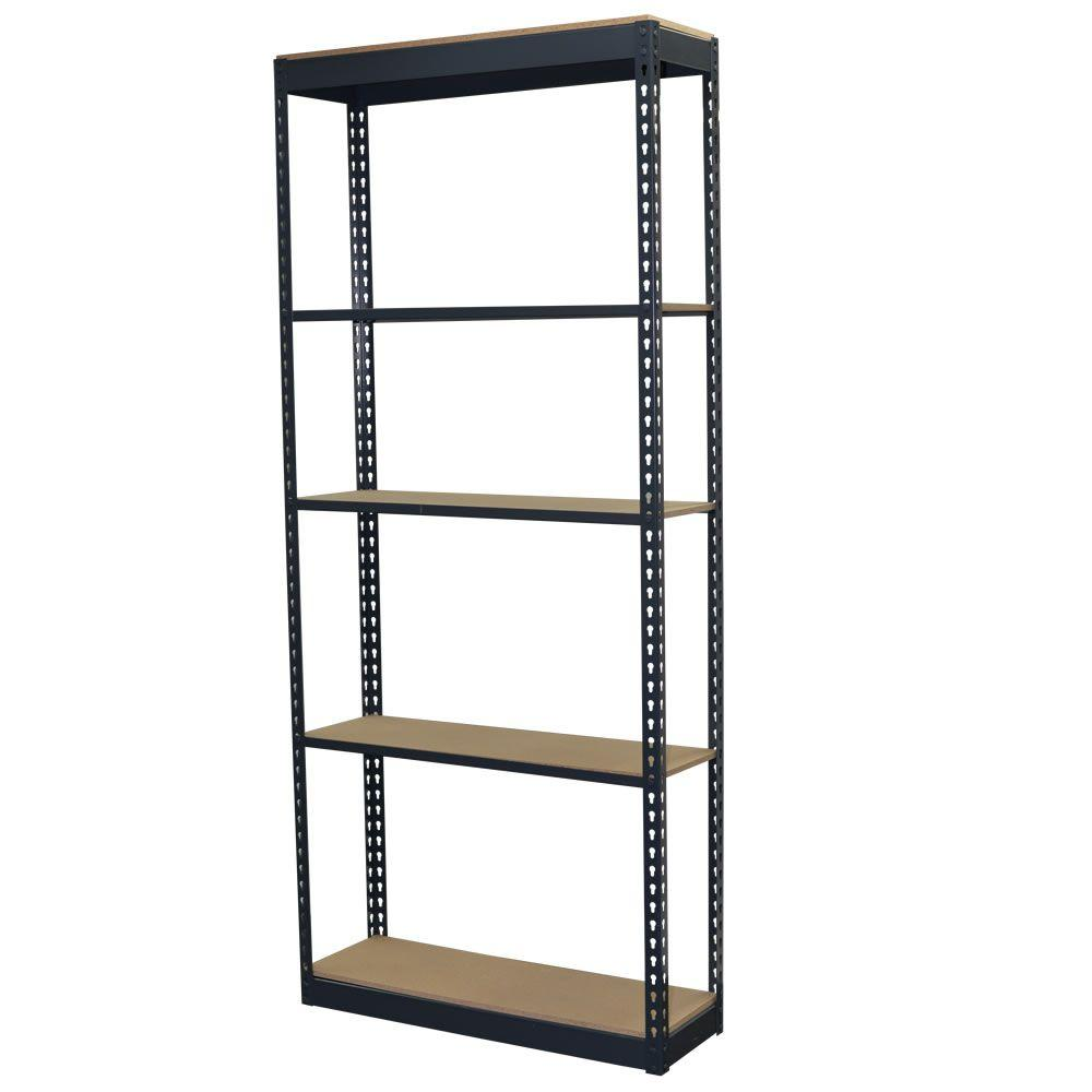 Storage Concepts 72 In H X 36 In W X 12 In D 5-shelf Steel Boltless  Shelving Unit With Low Profile Shelves And Particle Board Decking