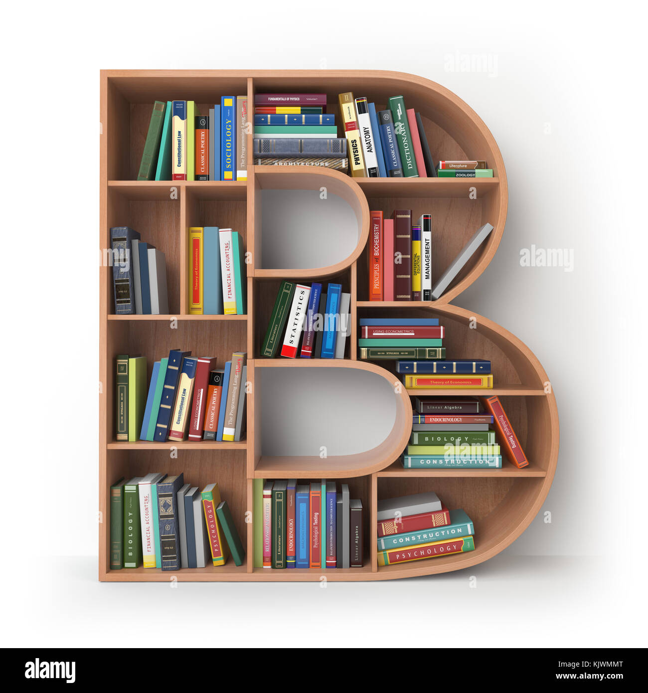 Letter B Alphabet In The Form Of Shelves With Books Isolated On